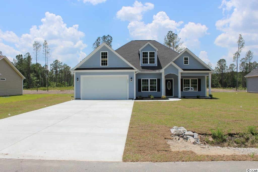 Pine Point is a new small community just off Cates Bay Hwy in Conway. Large 1/2 acre lots and No HOA fee. This great Hemlock Alt plan has a low country covered front porch and 12'4x11'2 rear screened porch, a 22'x10' patio, large living room has vaulted ceiling with fan/light, and lots of windows. Formal dining room with tray ceiling. Kitchen has custom built wood cabinets with knobs and crown molding, stainless appliances, pantry, and utility room. Master bedroom suite has tray ceiling, ceiling fan, huge walk-in closet. Master Bath has double sinks in a raised height vanity, garden tub and a separate walk in shower. Waterproof, wood-look vinyl floors thru-out the living areas and carpet in the bedrooms. Garage has been upgraded to include an 8ft high garage door. Added concrete upgrade for a 15 ft. longer driveway. Our homes are built with a minimum 9' smooth ceilings, 30 year architectural roof shingles, sodded yard includes irrigation system, fully finished and painted garages with automatic door opener and pull down stairs to attic storage, plus gutters. Can park your RV or Boat at your house. Just 30 minutes away from Myrtle Beach and all the fun, food and entertainment you expect. Photos and video are for illustrative purposes only and may be of similar house built elsewhere. Square footage is approximate and not guaranteed. Buyer is responsible for verification.