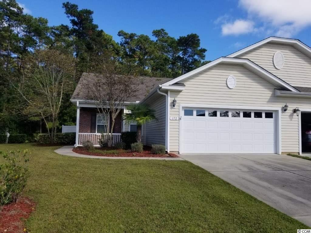 Easy living in this spacious semi-detached home in the very scenic neighborhood of Riverbend, right on the Intracoastal Waterway. This home has two dedicated bedrooms and much more! There is a study that can be used as a third bedroom, a screened porch with vinyl easy glide windows, a patio AND a full size two car garage! HOA fee includes exterior maintenance so no worries on who is going to cut that grass! This is truly a beautiful neighborhood, meandering streets that lead to gorgeous views of the ICW with a gazebo to watch the boats go by and a day dock for those boaters! There is a community pool and a mix of townhomes, semi-detached and also single family homes in this quaint development. Close by to shopping, the airport, Market Common and of course the beach! Square footage is approximate and not guaranteed. Buyer is responsible for verification.