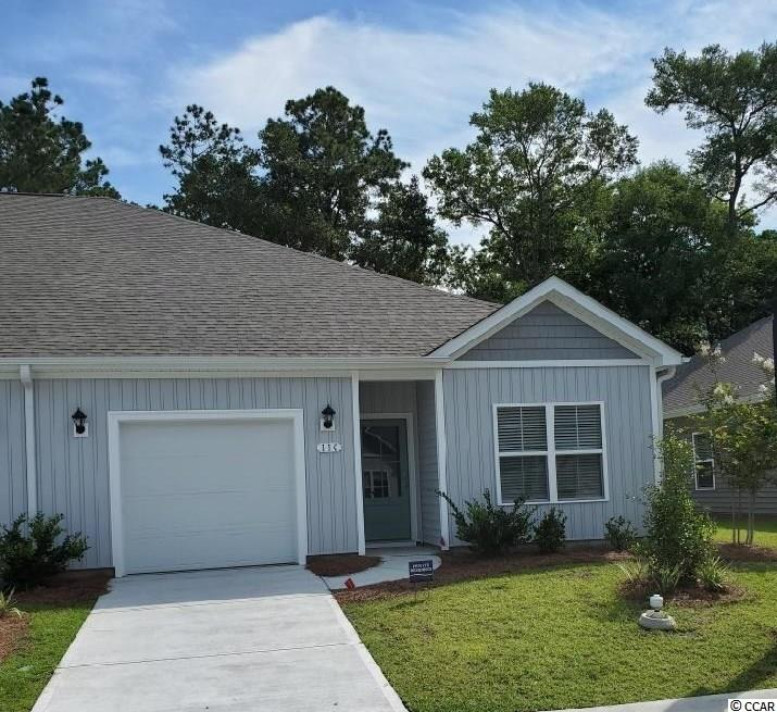 Brand new community within walking distance to the Murrells Inlet Marsh Walk! Low maintenance living at its best with these single level townhomes. This Bentley floorplan is an end unit and boasts an open concept kitchen, living, and dining area along with three spacious bedrooms! Features include white painted cabinetry, granite counters in the kitchen, stainless Whirlpool appliances, and laminate wood flooring that flows throughout the main living areas. The primary bedroom suite has a walk-in closet along with a private bathroom with dual vanity and large shower. Enjoy the beautiful coastal weather on the rear covered porch! 1-car garage with garage door opener plus a spacious storage closet off the rear porch. It gets better- this is America's Smart Home! Ask an agent today about our industry leading smart home technology package that is included in each of our homes.  *Photos are of a similar Bentley home. This home is under construction. (Home and community information, including pricing, included features, terms, availability and amenities, are subject to change prior to sale at any time without notice or obligation. Square footages are approximate. Pictures, photographs, colors, features, and sizes are for illustration purposes only and will vary from the homes as built. Equal housing opportunity builder.)