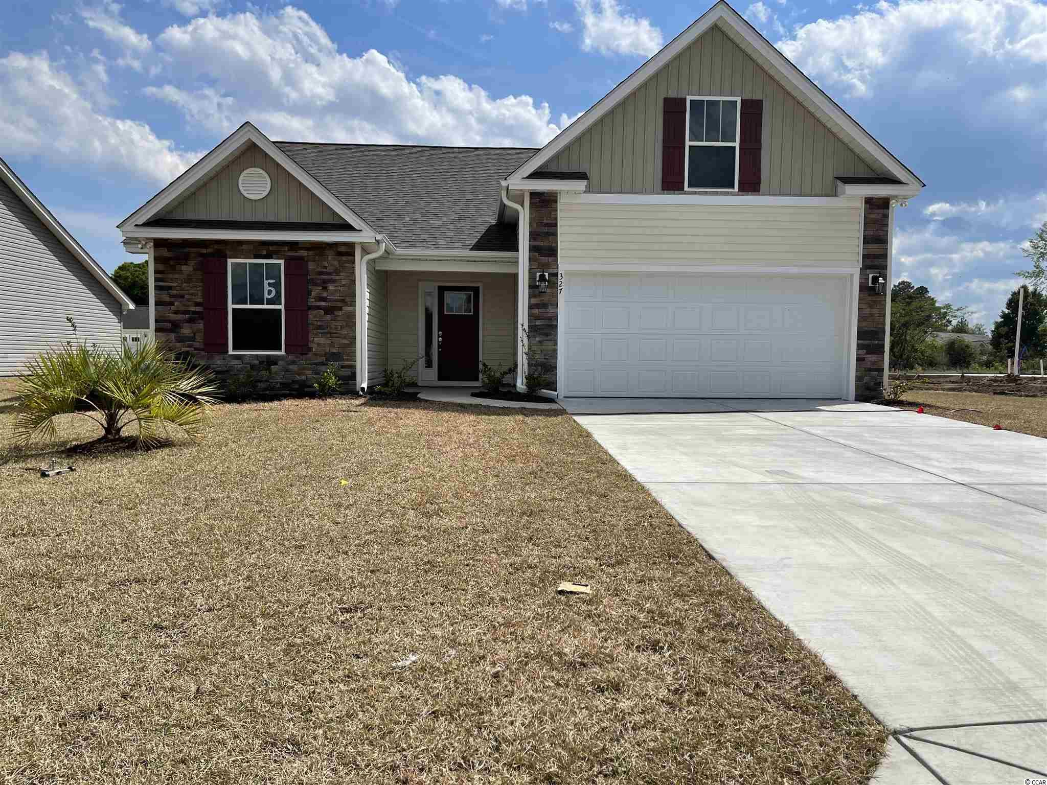 Red Hill commons is a new community located in Conway area only a few miles from the Beach and major shopping! This is the Emerald floor plan with added expansion through center and Bonus room with bathroom above garage. Open floor plan on a 0.21 ac home site featuring 4 bedrooms, 3 baths. This home includes a finished 2 car garage with garage openers. Ceramic tile in all bathrooms and Laundry room, Granite Kitchen Countertops, crown molding on kitchen cabinets with hardware included. Vaulted ceiling in Family room, every bedroom. Home also includes TAEXX pest control tubing!! Stone accents on the exterior as well. All measurements are approximate *Anticipating completion time April2021*