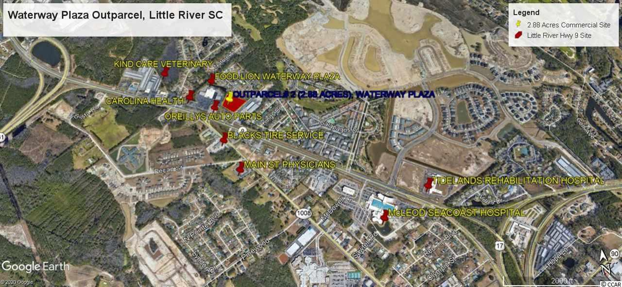 Well positioned outparcel in established Waterway Plaza Shopping Center. Excellent Medical Site (2.89 acres) situated along high growth medical market corridor. Medical generators include McLeod Seacoast Hospital, Tidelands Rehabilitation Hospital, and numerous Private Specialty Medical Practices. Waterway Plaza features signalized ingress and egress on SC Hwy 9 and secondary ingress and egress via Barber Street. Waterway Plaza major retail generators include Food Lion, Family Dollar.