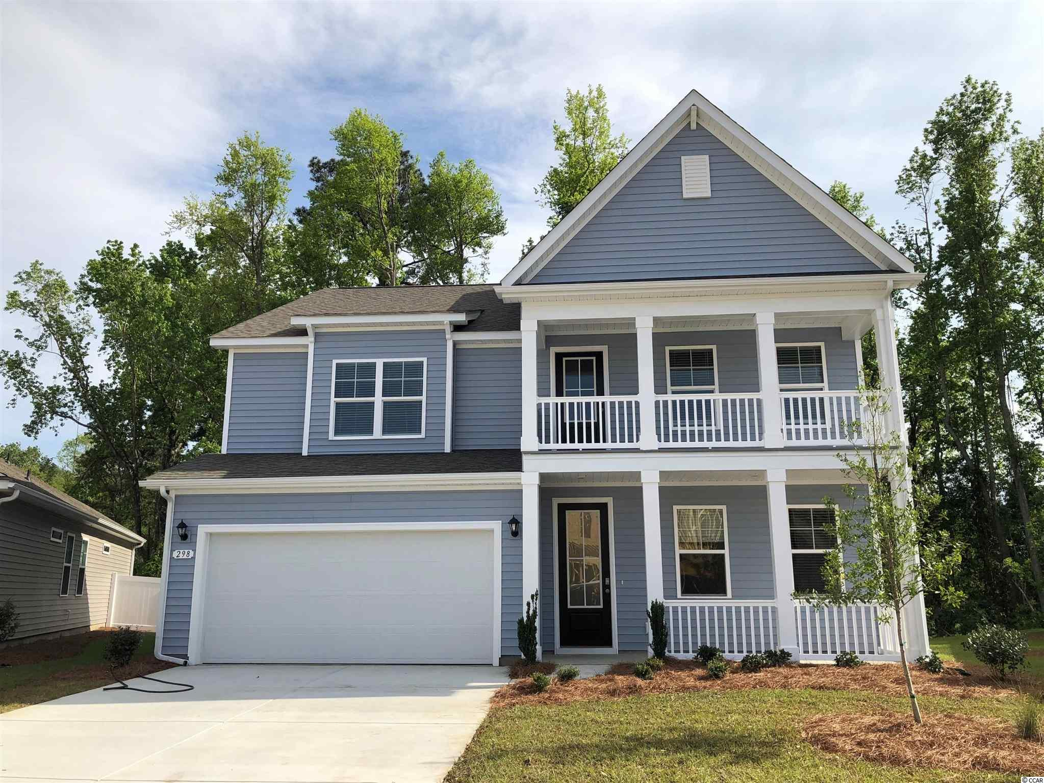 New phase now selling! Hidden Brooke is a beautiful community with an amenity that includes a pool with large deck area, clubhouse, and exercise room. Minutes away from Highway 31 which provides quick and easy access to all of the Grand Strand's offerings: dining, entertainment, shopping, and golf! Tranquil setting just a short drive to the beach. This popular Harbor Oak plan brings functionality and style together! Incredible curb appeal is an understatement given the stacked front porches and tall entry door with glass. Once inside, laminate wood floors flow throughout the main living areas creating an inviting space and numerous windows bring in fantastic natural light. Off the entry is a spacious flex room with French doors that would make the perfect home office or formal dining room. The large gourmet kitchen boasts modern gray painted cabinetry, quartz countertops, an oversized island, stainless Whirlpool appliances including a gas range, and a beautiful Butler's pantry right across from the walk-in pantry. Spacious bedroom and full bathroom on the first floor is great for guests and the additional sunroom creates even more space to relax or entertain. Upstairs you will find the grand primary bedroom suite with a cozy sitting room, huge walk-in closet, and en suite bath with large separate vanities, linen closet, and tile spa shower! Two additional bedrooms, a hall bathroom with a double vanity, and a great loft space with lots of storage complete the upstairs.  *Photos are of a similar Harbor Oak home.  (Home and community information, including pricing, included features, terms, availability and amenities, are subject to change prior to sale at any time without notice or obligation. Square footages are approximate. Pictures, photographs, colors, features, and sizes are for illustration purposes only and will vary from the homes as built. Equal housing opportunity builder.)