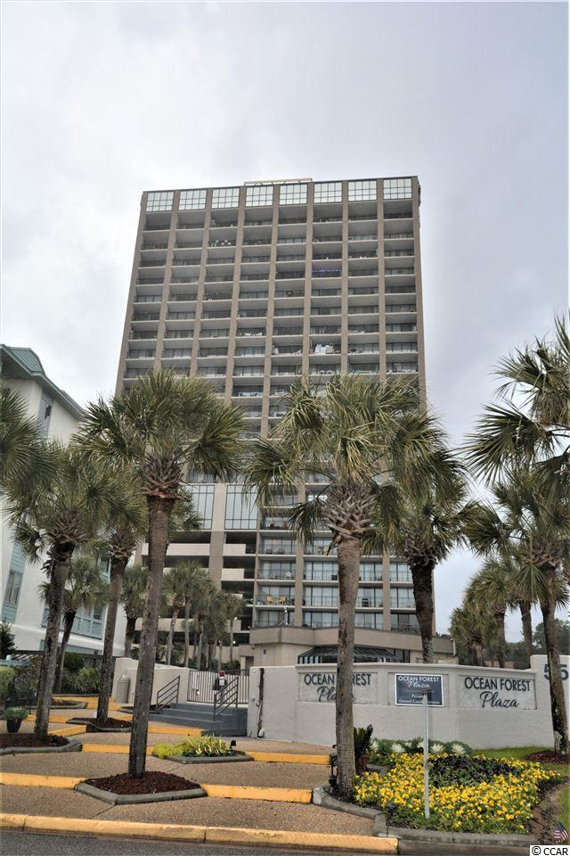 Fantastic oceanfront condo in highly desired Ocean Forest Plaza! A full one-bedroom condo with full bath plus extra vanity and sink. Condo is in great, move-in condition! Granite countertops, vinyl plank flooring, breakfast bar, work island, balcony with awesome ocean views, onsite laundry, indoor pool, hot tub, outdoor pool, fitness center, and the Atlantic Ocean just across the street! Located on 6th floor with same level parking garage - no need for elevator use. Short term rentals currently handled by owner through VRBO. Perfect for your second home, investment, or even full time living! Conveniently located close to restaurants, shopping, hospital, golf courses, and all the attractions of Myrtle Beach but in a quieter, less populated area that is not so touristy. What's not to love about this condo with low HOA fees that even include unit electricity!  Pets allowed for owners.