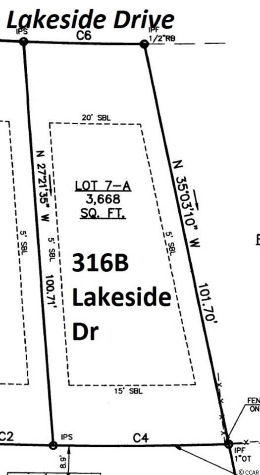 316A Lakeside Drive is a 30x102x43x101 - .08-acre cleared vacant single-family building lot east of Business 17, zoned R3 in the Town of Surfside Beach, +/-950 feet to the ocean, quick walk to the beach, in a residential area convenient to restaurants, shopping, and entertainment. This lot is ready for one single-family home. Property zoned for short-term vacation rentals, or it would be suitable for either a second home at the beach or an ideal place to live full time. The seller is a licensed SC real estate broker.