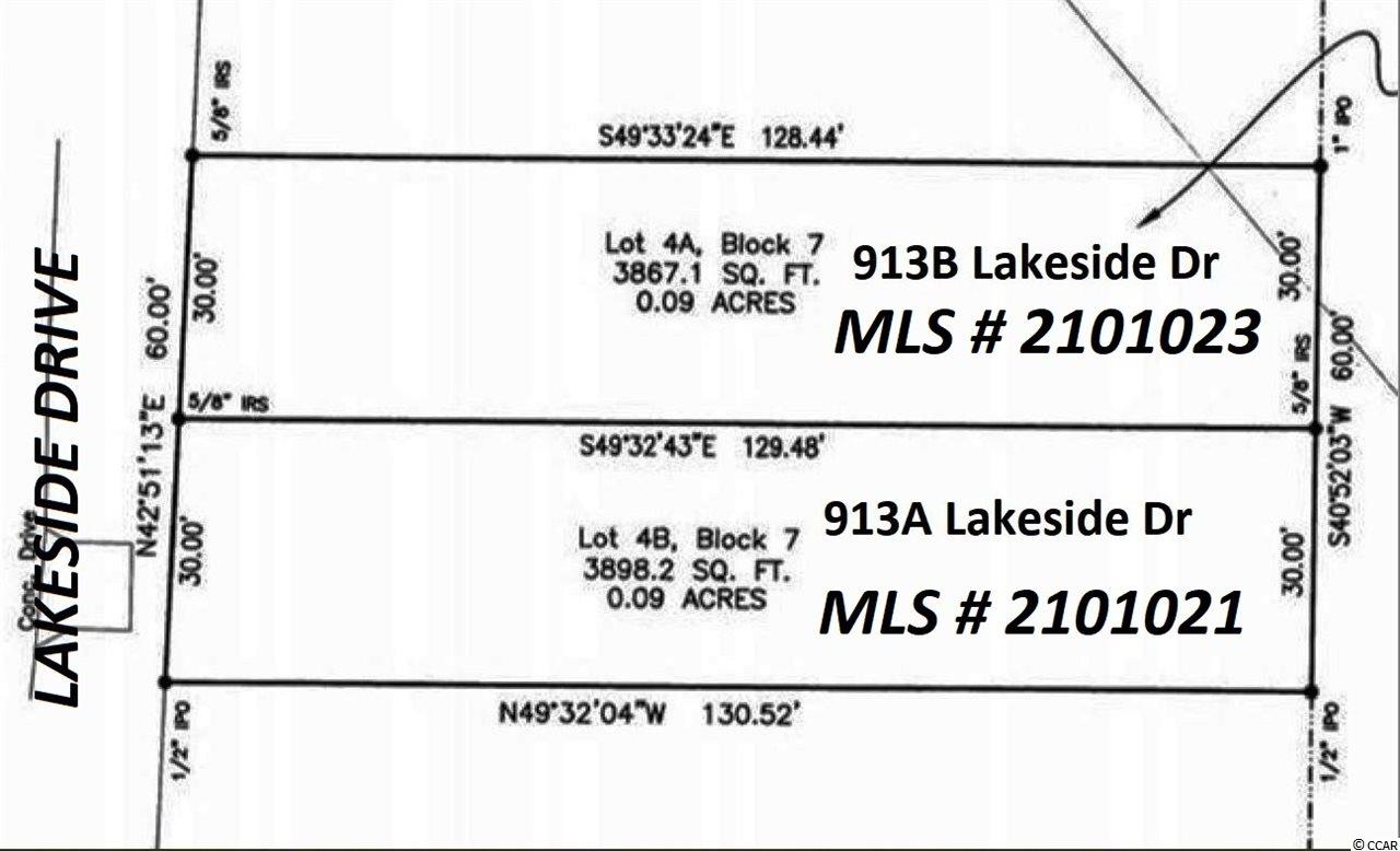 913A Lakeside Drive is a 30x129x30x131 - .09-acre cleared vacant single-family building lot east of Business 17, zoned R3 in the Town of Surfside Beach, +/-950 feet to the ocean, quick walk to the beach, in a residential area convenient to restaurants, shopping, and entertainment. This lot is ready for one single-family home. Property zoned for short-term vacation rentals, or it would be suitable for either a second home at the beach or an ideal place to live full time. There are water and sewer taps in place from a house located on the property in the past. The seller is a licensed SC real estate broker. 913B Lakeside Drive also for sale MLS# 2101023.