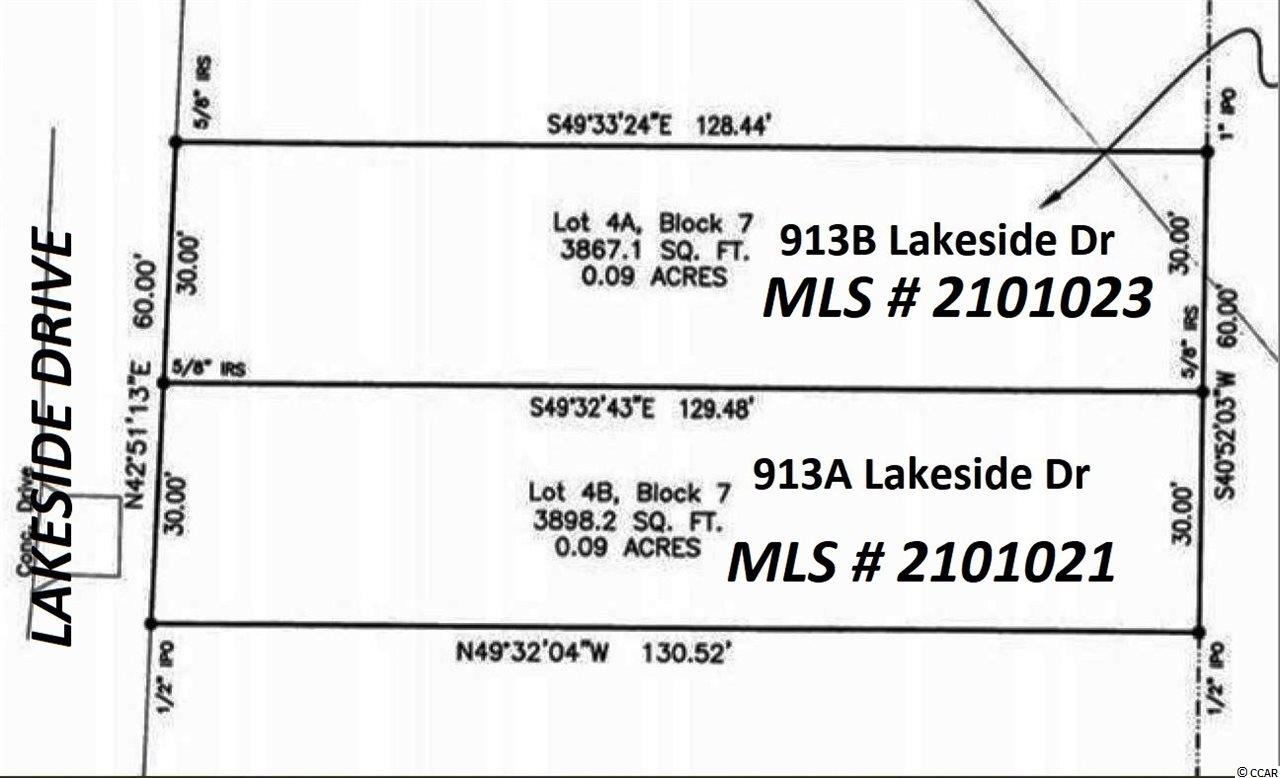 913B Lakeside Drive is a 30x128x30x129- .09-acre cleared vacant single-family building lot east of Business 17, zoned R3 in the Town of Surfside Beach, +/-950 feet to the ocean, quick walk to the beach, in a residential area convenient to restaurants, shopping, and entertainment. This lot is ready for one single-family home. Property zoned for short-term vacation rentals, or it would be suitable for either a second home at the beach or an ideal place to live full time. There are water and sewer taps in place from a house located on the property in the past. The seller is a licensed SC real estate broker. 913A Lakeside Drive also for sale MLS# 2101021.