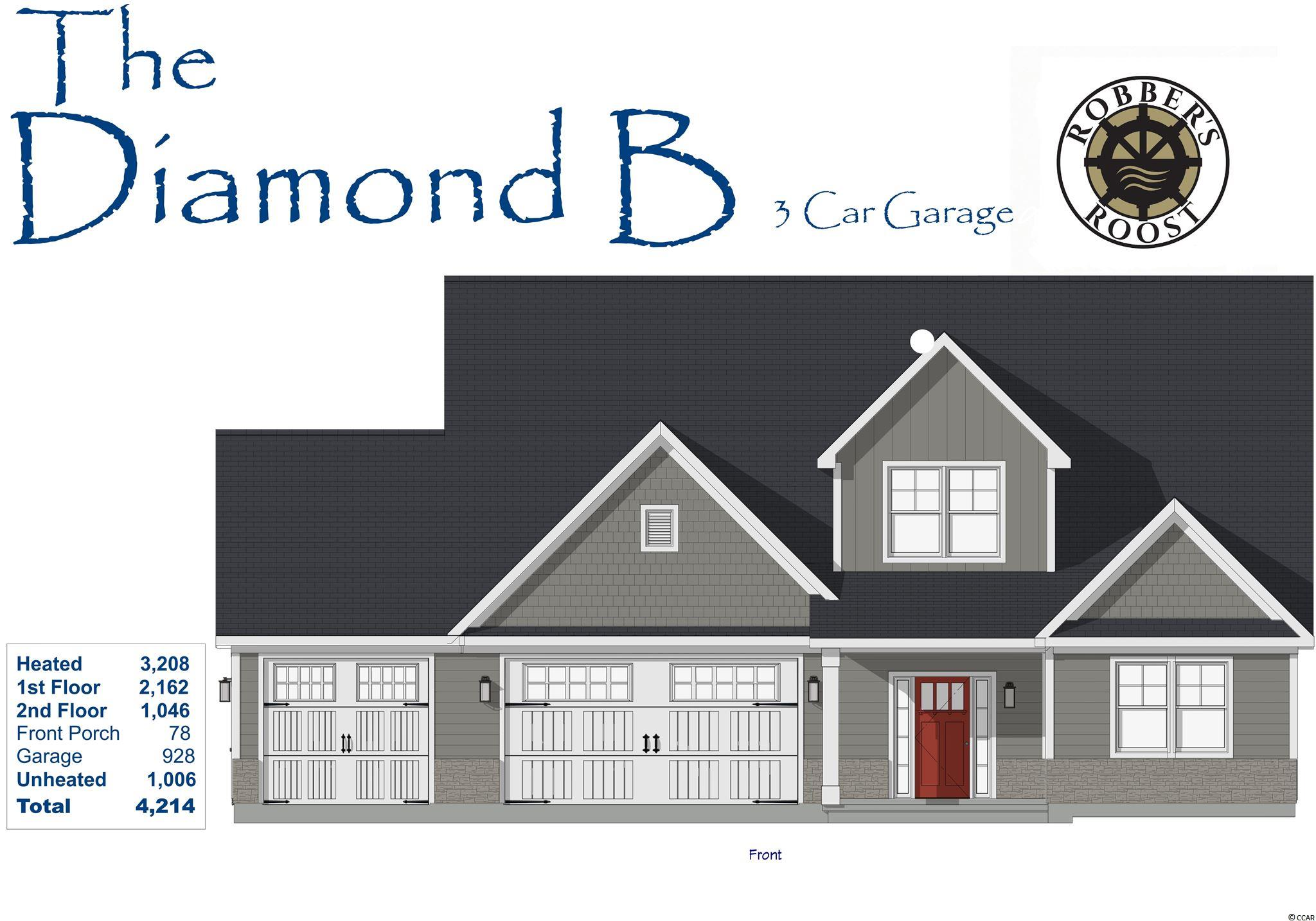 Diamond B Model new construction 4br/3.5ba 2 story home with 2 Car + Golf Cart Garage in Robber's Roost!  This great floor plan with 3,208 Htd Sqft. features Master Suite, kitchen, living room with fireplace, formal dining, laundry room, sun room, 1/2 bath and a 2nd bedroom with a full bath on first floor, 2 bedrooms, a media room, storage and a full bath on 2nd floor and front porch & back patio!  Energy savings features include Low E windows, 14 Sear HVAC, Digital WiFi Programmable Thermostats, Tankless Gas Hot Water Heater & 200 Amp electrical service, security system with keyless entry. Too much to mention so come see for yourself! Additionally, Robber's Roost at North Myrtle Beach is a natural gas community east of Hwy 17 with a community pool coming for the 2021 swimming season & is located within walking, bicycle or golf cart distance to Tilghman Beach, the beautiful Atlantic Ocean w/ 60 miles of white sandy beaches and is close to Coastal North Town Center (shopping, dining, beauty, pets), Shag dance capital Main St., golf, boating/fishing in the ICW, entertainment and all the amenities of living in Coastal South Carolina. Whether a primary residence or your vacation get-a-way, don't miss ~ come live the dream!