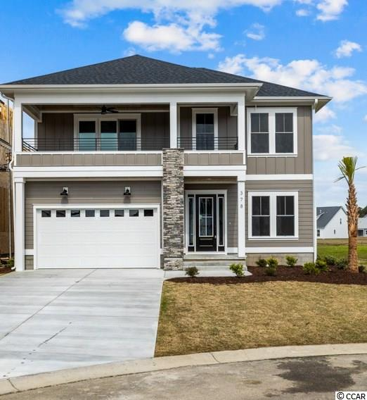 WELCOME HOME to this spectacular NEW CONSTRUCTION 4 bedroom/3.5 bath home in the premier boating community of Boardwalk on the Waterway.  The second row ICW home features an extra long driveway, stone accent wall and gorgeous waterway views.  Board & batten details and a two-story staircase greets you upon entering.  To the right is the 4th bedroom/den with en-suite bathroom and walk-in closet.  Designed for function, a powder room and laundry room with drop zone is located off the garage.  Once you pass through the foyer, the open-concept floor plan has vaulted ceilings with beams, a shiplap fireplace, double wall oven/microwave combo, and gas cooktop and walk-in pantry with wood shelves  The large sliding glass doors lead to a large covered porch with stained wood ceilings that overlook the PRIVATE POOL.  The Master Suite includes tray ceilings, tile walk-in shower, dual sinks with quartz tops and custom built wood shelves in the large closet.   Upstairs is a large flex space with outdoor balcony overlooking the water to watch the boats go by!  Two more bedrooms, a full bathroom with tile tub surround and quartz tops and a custom built workstation creates the perfect space for virtual learning and Zoom meetings.   Boardwalk on the Waterway is a gated, natural gas community that includes a boardwalk that runs the  length of the community on the ICW, gazebo, private boat ramp, day dock, and gated boat storage.