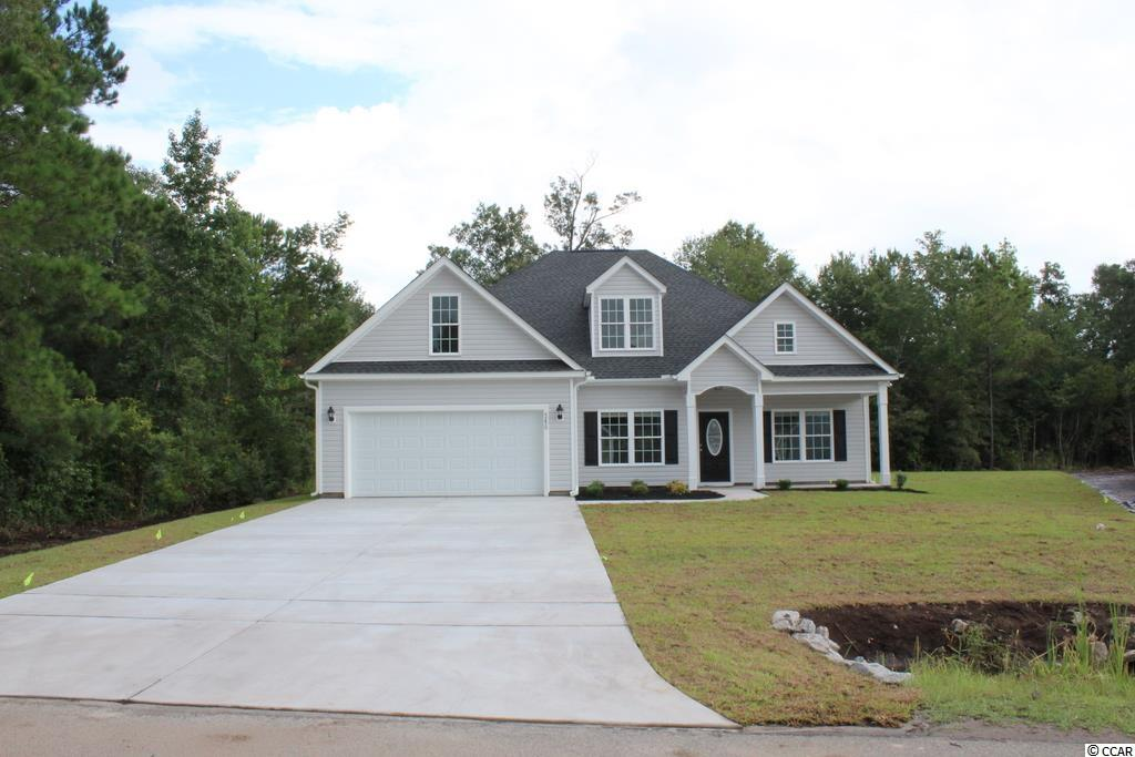 "NO HOA fee, large home sites! Spacious Hemlock Alt plan, entry foyer, relaxing front porch, rear screen porch and patio on a premium lot. Open floor plan, dining room with tray ceiling, living room has vaulted ceiling and ceiling fan, large kitchen has lots of solid wood custom cabinets with crown molding, granite countertops and granite breakfast counter with 16"" bar top, single bowl sink, stainless steel appliances - microwave, gas range, dishwasher and pantry closet. Split bedrooms - Master suite has tray ceiling with ceiling fan, huge walk-in closet, double bowl sinks in a raised height vanity, garden tub, plus separate tile walk-in shower with a seat, and a large window to let light in. Guest bedrooms and bath are on the opposite side of the house. Upgraded waterproof, wood-look luxury vinyl plank flooring in the common living areas, waterproof tile in the bathrooms and laundry room, carpet in the bedrooms. Blinds package for all the windows. Rinnai tankless gas water heater, gas heat. Upgraded interior trim includes 3 1/4"" casings and 5 1/4"" baseboards. Low E glass windows, energy efficient homes. Spacious, finished and painted 2-car garage with automatic door openers, pull down stairs to attic storage. Gutters, entire yard is sodded and an irrigation system. Amazing included features! Natural gas community. Close to International Drive, quick/easy access to Myrtle Beach. Basic Restrictive Covenants. Video is for illustrative purposes only and may be of similar home built elsewhere. Square footage is approximate and not guaranteed. Buyer is responsible verification."