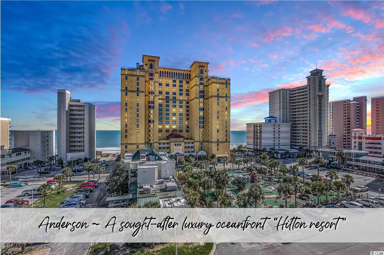 """When it comes to elegant resorts, Anderson Ocean Club is known as one of the top luxury resorts within the entire Grand Strand area. Anderson, """"a Hilton resort"""", has many wonderful attributes that set it apart from the large crowd of other oceanfront condo buildings. For one, the locationis superb! Conveniently located within walking distance to well known breakfast & lunch restaurants (Magnolia's, Starbucks, Ben & Jerry's, Jimmy John's, Soho, River City, Dirty Don's, California Pizza, & many more) as well as 2 highly rated fine dining seafood and steakhouse restaurants (Sea Captain'sHouse Oceanfront and New York Prime). It's so hard to beat this ideal locationof Myrtle Beach! Unit #1415 is located on the south side of the building with wonderful ocean views due to its higher location. The unit itself recently had an intensive renovation and you're going to love that fresh NEW look & smell as soonas you step through the door. Not only is the building very well maintained, when you step inside #1415, it's like being in a brand new unit! Don't let thisone get away like the last one did! This unit is a top rated unit for the building bringing in great rental figures if you would care to rent. Owners blocked open date sthis past year due to Covid; however, you could easily pick up right where they left off. **Unlike other condo buildings, the HOA here does include your electric**. 360 Virtual Tour coming soon."""