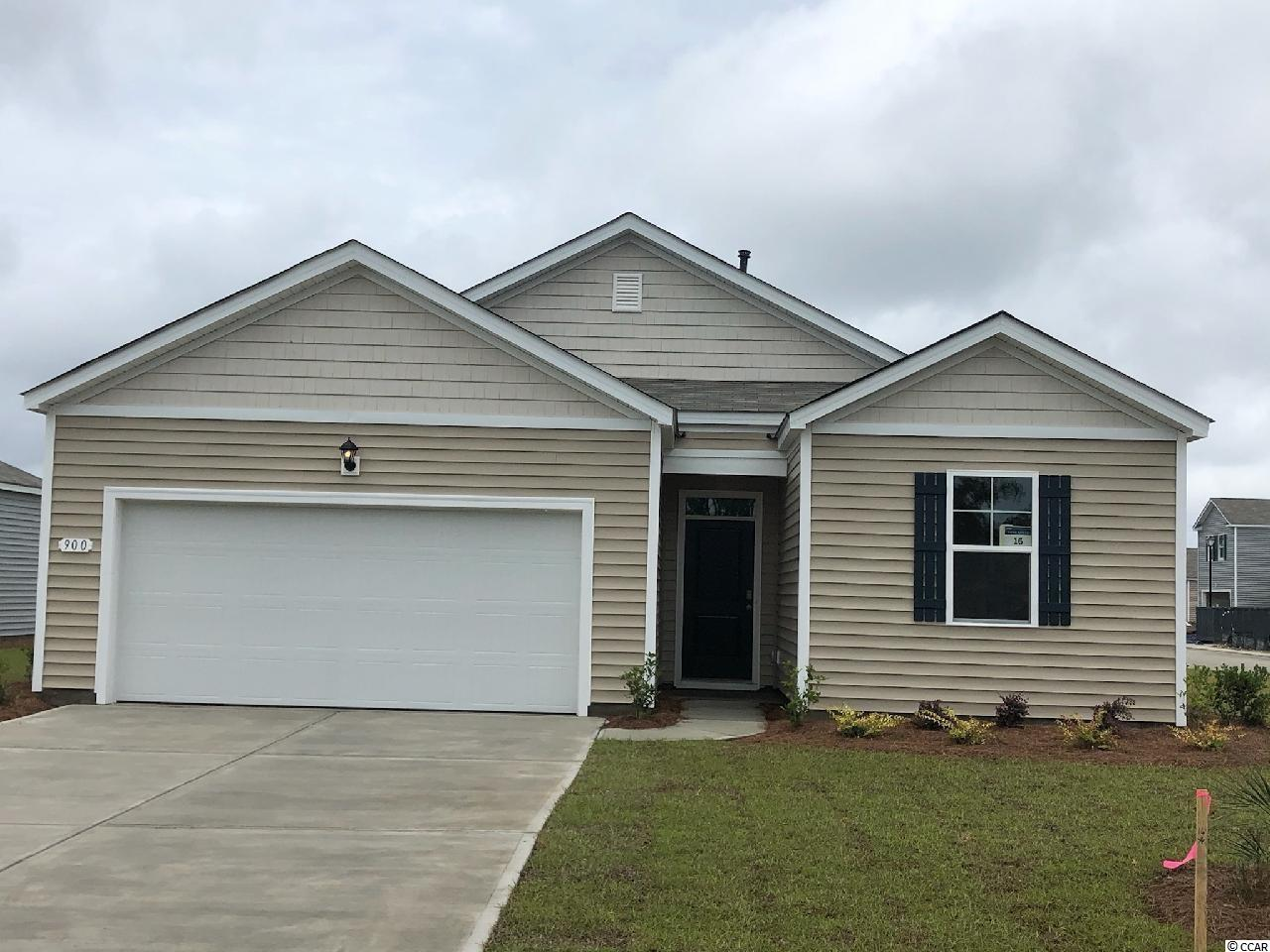 """Oyster Bluff is now selling! Brand new natural gas community just minutes away from shopping, dining, and the beach. Why pay rent? This Macon floorplan offers three bedrooms all on one level. Private primary bedroom suite with a big walk-in closet and en suite bath with dual vanity and 5 ft. shower! Nice, open flow between kitchen and living areas is great for entertaining around the large breakfast bar while low maintenance laminate flooring gives the look of wood with easy care and cleanup! Granite counters in the kitchen, 36"""" white painted cabinetry, stainless Whirlpool appliances, and a great size pantry. Sliding glass doors off the dining area lead to the back yard with pond views. It gets better- this is America's Smart Home! Control the thermostat, front door light and lock, and video doorbell from your smartphone or with voice commands to Alexa. Tankless gas water heater and a two-car garage with garage door opener also included.   *Photos are of a similar Macon home. (Home and community information, including pricing, included features, terms, availability and amenities, are subject to change prior to sale at any time without notice or obligation. Square footages are approximate. Pictures, photographs, colors, features, and sizes are for illustration purposes only and will vary from the homes as built. Equal housing opportunity builder.)"""