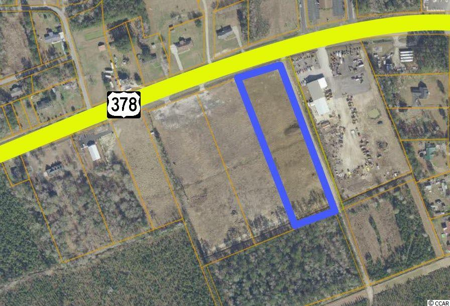 This 5.34 acre tract is located directly on Highway 378 in Conway, South Carolina.  This is a portion of a 14.6 acre tract that provides over 760' frontage provides high visibility on Highway 378, one of two US Highways connecting Conway to Interstate 95 and Columbia, South Carolina's capital.  This site may be easily subdivided to suit a user's need, and is permitted for 3 ingress/egress points from Highway 378.  This site is improved and graded, and storm-water will be held by a to-be-constructed retention pond on the southeast corner of the property.  The Highway 378 corridor is the most-visible of Conway's industrial hubs and is the only available heavy industrial site on the 378 corridor.  Waste Management, Richardson & Sons, and Richardson Service are all located in close proximity.  This property is located along the western limited of the City of Conway, and is convenient to working populations in Western Horry, Marion, and Florence Counties due to Highway 378.