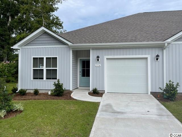 Brand new community within walking distance to the Murrells Inlet Marsh Walk! Low maintenance living at its best with these single level townhomes. This Bentley floorplan is an end unit and boasts an open concept kitchen, living, and dining area along with three spacious bedrooms! Features include white painted cabinetry, granite counters in the kitchen, stainless Whirlpool appliances, and laminate wood flooring that flows throughout the main living areas. The primary bedroom suite has a walk-in closet along with a private bathroom with dual vanity and large shower. Enjoy the beautiful coastal weather on the rear covered porch! One-car garage with garage door opener plus a spacious storage closet off the rear porch. It gets better- this is America's Smart Home! Ask an agent today about our industry leading smart home technology package that is included in each of our homes.  *Photos are of a similar Bentley home. This home is under construction. (Home and community information, including pricing, included features, terms, availability and amenities, are subject to change prior to sale at any time without notice or obligation. Square footages are approximate. Pictures, photographs, colors, features, and sizes are for illustration purposes only and will vary from the homes as built. Equal housing opportunity builder.)