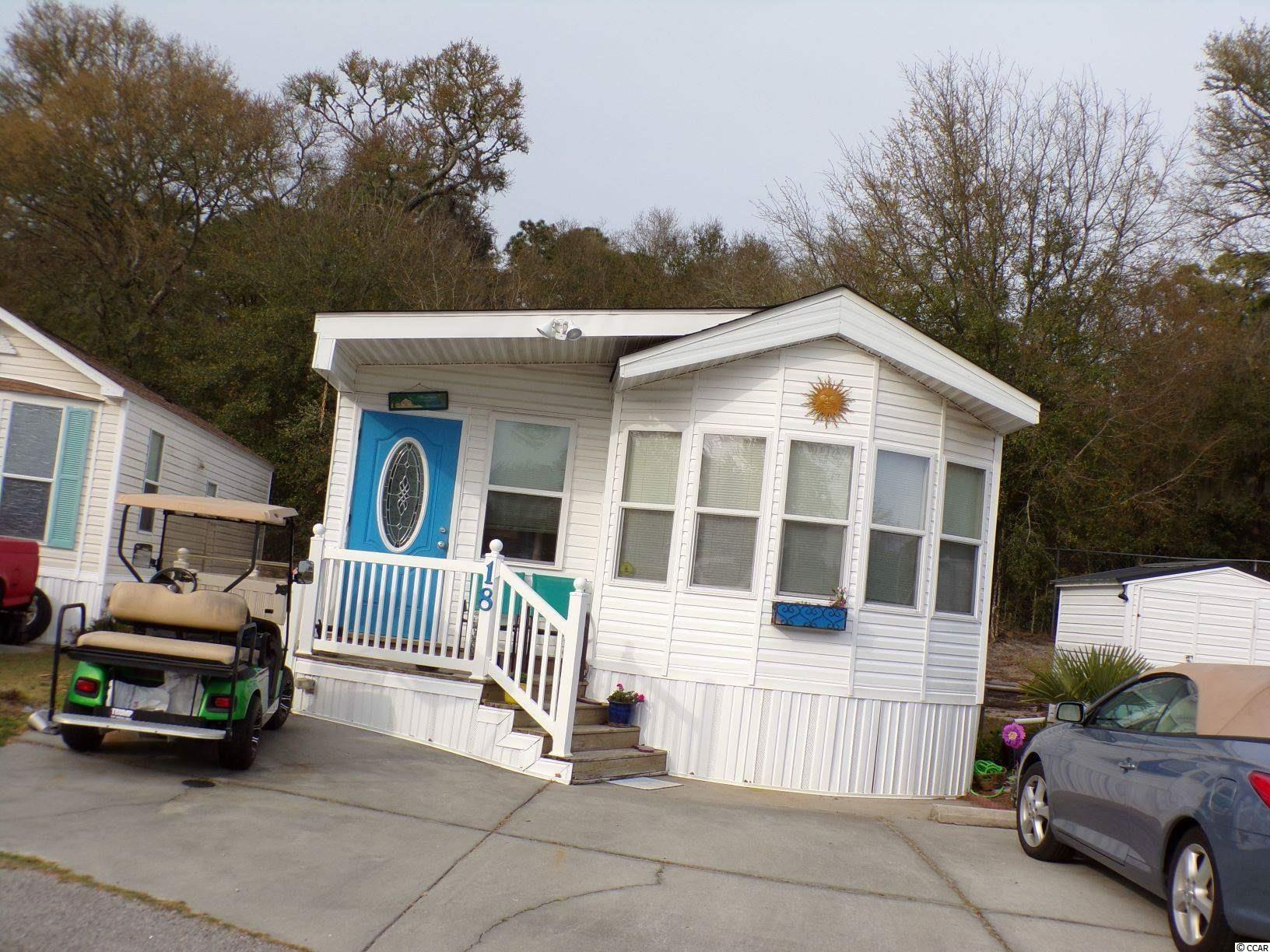Two Bedroom, One Bathroom home in Desirable Myrtle Beach RV Resort. Excellent condition, move in ready. Large shed with washer & Dryer. Very nice gated community. Not far from restaurants, shopping, golf and more. The community offers 2 swimming pools, tennis court, mini golf.