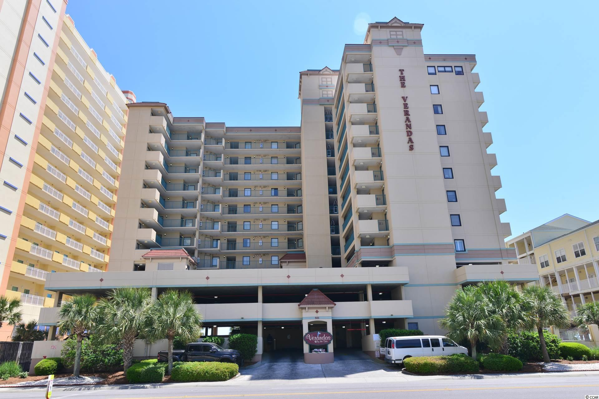 Don't miss out on this one!  It's next to impossible to find a condo in an ocean front building with the amenities offered by The Verandas for this price!  Swimming pool and lazy river, parking deck, elevator, private beach access and walking distance to Main St--and lower HOA fees than most condo complexes.  Here's a condo that is perfect for someone's weekend retreat, but it actually served well as a primary residence for the present owner.  The heat pump units have both been replaced in the last 3 years.  This unit is set up with the entrance at the bedroom and the balcony off the living area--but simply rearrange the furniture to have entrance at the living area and the balcony off the bedroom if that's your preference.  Make an appointment to see it today!