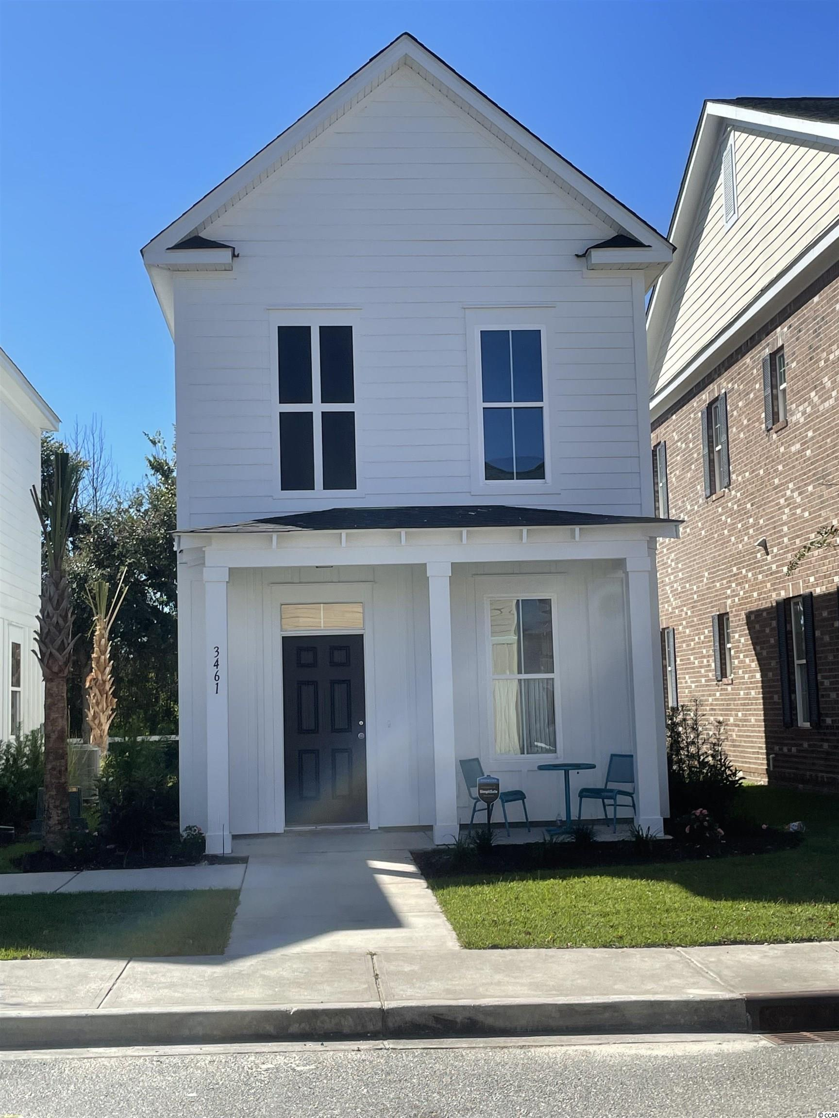 This quaint community is located in the heart of Myrtle Beach between Hwy 17 bypass & 17 business and is surrounded by everything Myrtle Beach has to offer.  The St. James square property offers on site restaurants , salons, professional offices and is only a short golf cart ride to the beach.  The 2 bedroom 2 1/2 bath Masonboro is a light airy floor plan with beautiful interior features including luxury vinyl plank flooring in the main living area, stainless steel appliances, granite countertops , modern white cabinetry with a large kitchen island and pantry, designer lighting package, ceiling fans and a Walk-in closet in the master bedroom.