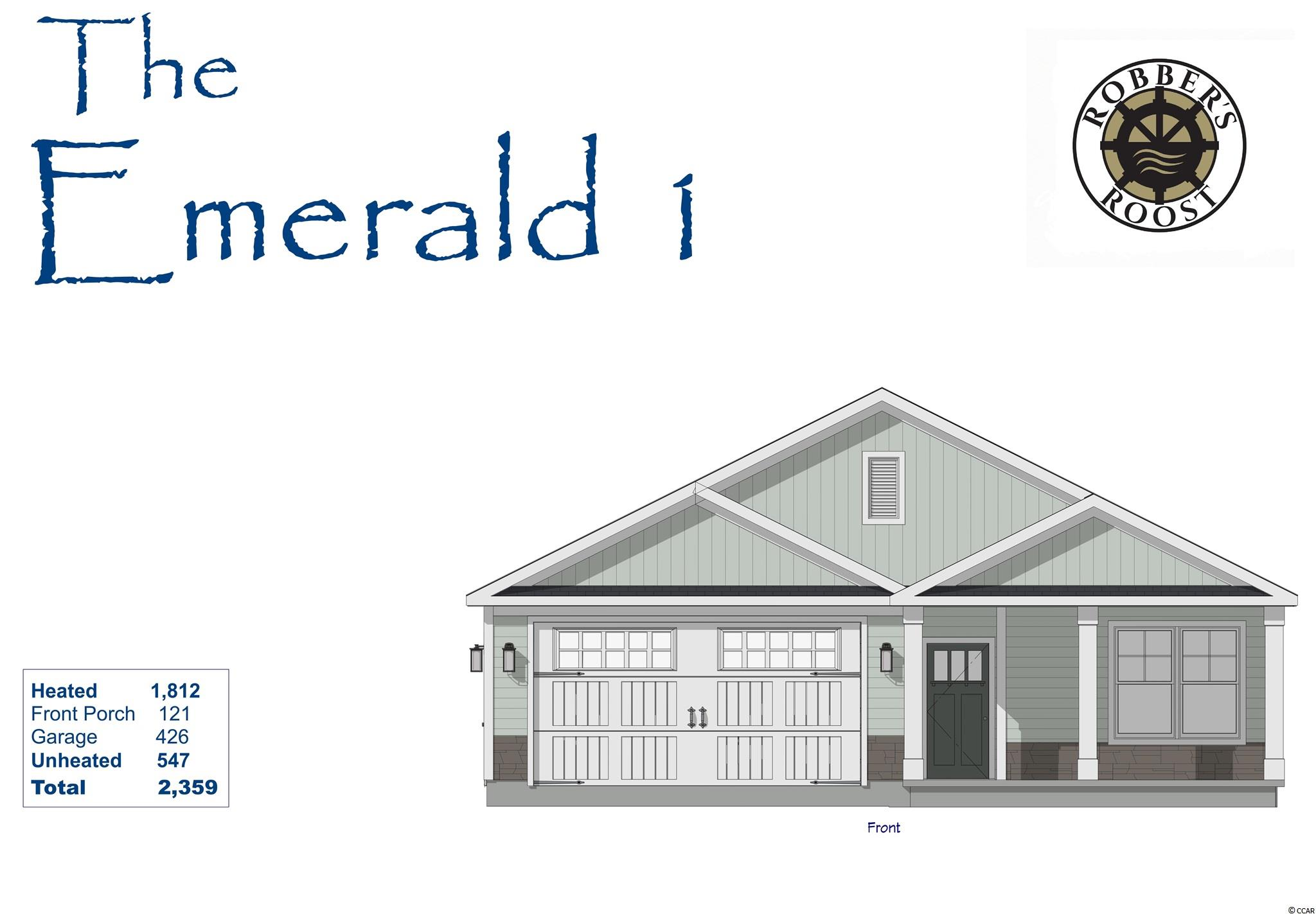 Emerald 1 Model new construction 3br/2ba one level home with an office, a rear covered porch &  2 car garage in Robber's Roost!  This great floor plan with 1,800 Htd Sqft. features LVP flooring, Owner's Suite, open kitchen with stainless appliances & Granite countertops, living/dining room, laundry room, 2 more bedrooms, an office, laundry room, front & rear porches!  Energy savings features include Low E windows, 14 Sear HVAC, Digital WiFi Programmable Thermostats, Tankless Gas Hot Water Heater & 200 Amp electrical service, security system with keyless entry. Too much to mention so come see for yourself! Additionally, Robber's Roost at North Myrtle Beach is a natural gas community east of Hwy 17 with a community pool coming for the 2021 swimming season & is located within walking, bicycle or golf cart distance to Tilghman Beach, the beautiful Atlantic Ocean w/ 60 miles of white sandy beaches and is close to Coastal North Town Center (shopping, dining, beauty, pets), Shag dance capital Main St., golf, boating/fishing in the ICW, entertainment and all the amenities of living in Coastal South Carolina. Whether a primary residence or your vacation get-a-way, don't miss ~ come live the dream!