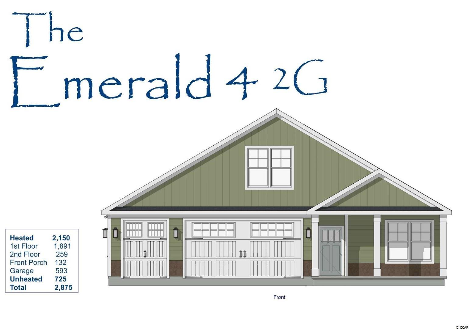Our fantastic new Emerald 4 2G Model has so much to offer ~ This One & 1/2 story home features 3Br/2Ba and an office on first floor & 1 BR/bonus with full bath on the 2nd floor and a large 3 car garage! This open floor plan boasts a large living room, breakfast/dining area, kitchen with free standing gas convection range, over-the-range sensor microwave, energy star dishwasher, granite countertops, garbage disposal, pantry, laundry room & rear patio. Fantastic Master Suite with tray ceiling, 2 walk in closets & bathroom with walk in shower, water closet and his & her sinks. The 2nd floor boasts a large bedroom/bonus room with full bath. Energy savings features include Low E windows, 14 Sear HVAC, Digital WiFi Programmable Thermostats, Tankless Gas Hot Water Heater & 200 Amp electrical service, security system with keyless entry.  Too much to mention so come see for yourself! From the time you step onto the quaint from porch & open the front door you'll see the quality of construction. 9' flat ceilings, wide plank restoration flooring, luxurious carpet in bedrooms.  Additionally, Robber's Roost at North Myrtle Beach is a natural gas community east of Hwy 17 with a community pool coming for the 2021 swimming season & is located within walking, bicycle or golf cart distance to Tilghman Beach, the beautiful Atlantic Ocean w/ 60 miles of white sandy beaches and is close to Coastal North Town Center (shopping, dining, beauty, pets), Shag dance capital Main St., golf, boating/fishing in the ICW, entertainment and all the amenities of living in Coastal South Carolina. Whether a primary residence or your vacation get-a-way, Don't Miss ~ come live the dream!  (*Many new plans to choose from!)