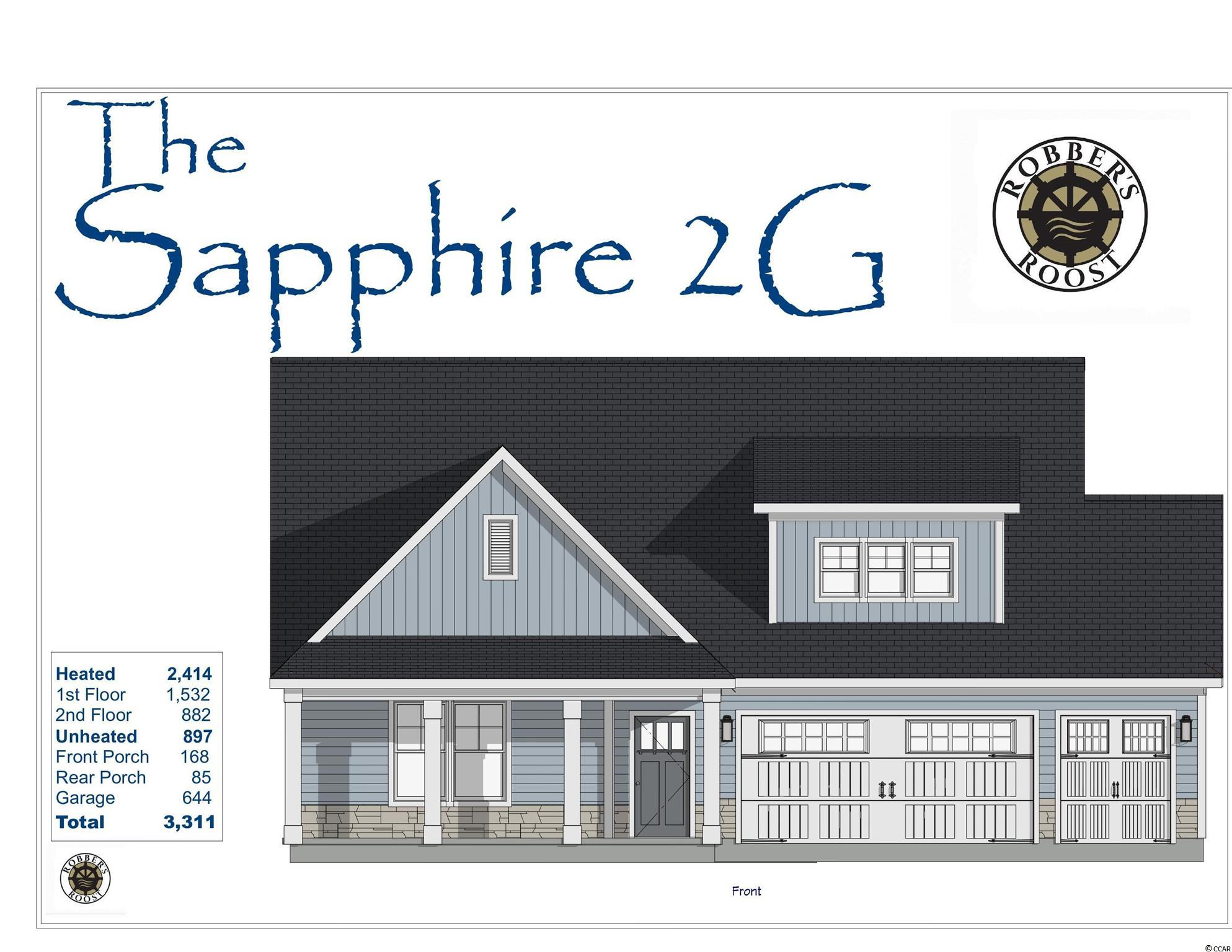 Our fantastic new Sapphire 2G Model has so much to offer ~ This 2 story 4br/2.5ba home features the owner's suite, large living room, eat-in kitchen, powder room, laundry room & rear porch on the first floor, 3 bedrooms w/ a full bath on the 2nd floor, beautiful front porch and a large 3 car garage! This open floor plan boasts a large living room with vaulted ceiling, kitchen with free standing gas convection range, over-the-range sensor microwave, energy star dishwasher, granite countertops, garbage disposal, pantry. Energy savings features include Low E windows, 14 Sear HVAC, Digital WiFi Programmable Thermostats, Tankless Gas Hot Water Heater & 200 Amp electrical service, security system with keyless entry.  Too much to mention so come see for yourself! From the time you step onto the quaint from porch & open the front door you'll see the quality of construction. 9' flat ceilings, wide plank restoration flooring, luxurious carpet in bedrooms.  Additionally, Robber's Roost at North Myrtle Beach is a natural gas community east of Hwy 17 with a community pool coming for the 2021 swimming season & is located within walking, bicycle or golf cart distance to Tilghman Beach, the beautiful Atlantic Ocean w/ 60 miles of white sandy beaches and is close to Coastal North Town Center (shopping, dining, beauty, pets), Shag dance capital Main St., golf, boating/fishing in the ICW, entertainment and all the amenities of living in Coastal South Carolina. Whether a primary residence or your vacation get-a-way, Don't Miss ~ come live the dream!  (*Many new plans to choose from!)