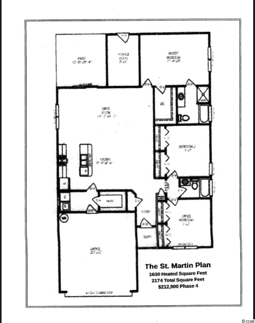 The St. Martin Floor Plan. This phase of Elmhurst includes natural gas-range, gas heat, and tanked hot water heater as part of the standard features. The St. Martin Floor Plan features an open kitchen, custom made cabinets with crown molding and knobs, stainless steel appliances, and a pantry. Spacious bedrooms, a laundryroom, and a large master suite with tray ceiling and a walk in closet. The master bath features a raised vanity, seperate garden tub and a walk in shower. Rear screened porch and attached outside storage area. The Elmhurst subdivision is located in Central Conway, within minutes of historic downtown Conway and just 20 minutes to the beach. HOA restrictions are minimal. Listing Agent available daily byappointment.