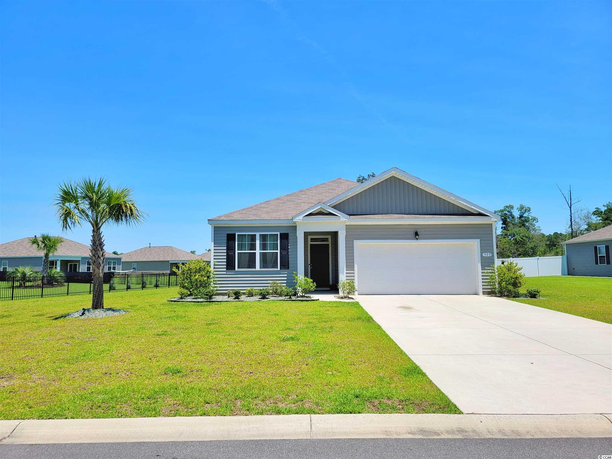 """Have you dreamed of the """"Palm tree in the front yard, beach living lifestyle"""" look no more !!!! Newly built in 2018 this home is beautifully up-to-date in the newest home living trends . The lot sits towards the end of a secluded quiet culdesac and near the community pool and fitness center . The home features both LVP and carpet flooring , stainless steal appliances and stunning granite in the Kitchen . The Aria floor plan is a Ranch style 3 spacious bedrooms , 2 Full bath , wide open concept living and kitchen , with large closets and a 2 car garage . Enjoy dinners inside in your formal dining area or outside under your covered pergola ! LOCATION LOCATION - Located just minutes from 501 you can quickly access Grocery stores , Outlet mall shopping , Restaurants , and just 20 minutes to the Ocean !!"""