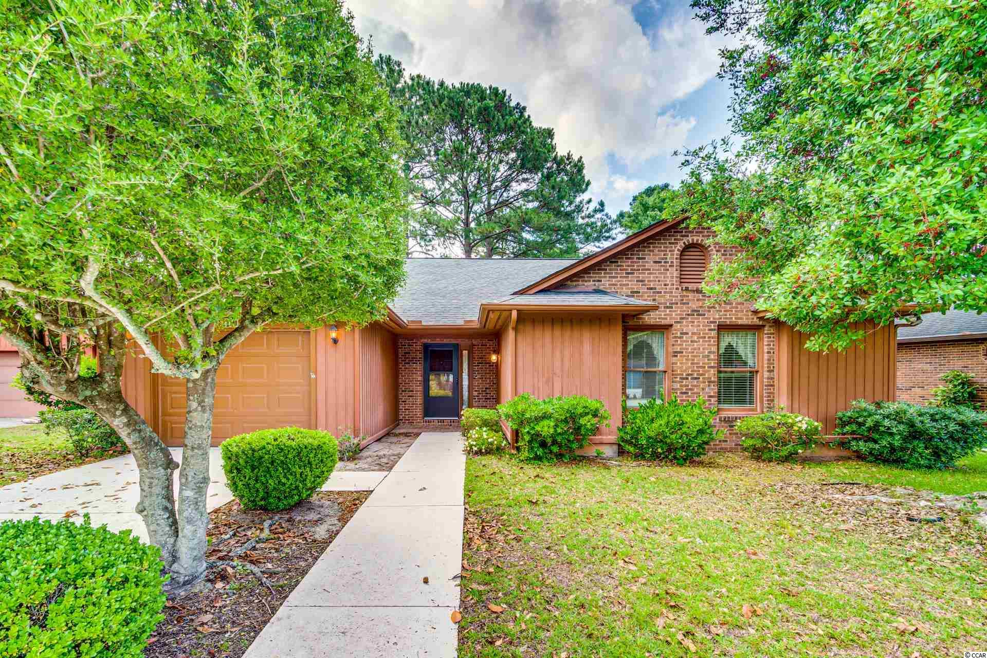 """3 BR/2 BA home in active 55+ Myrtle Trace community.  The property is located on a community """"lake"""" as well as on a cul-de-sac.  The property is being sold """"As Is"""" and is in need of exterior wood repairs or replacement.  Nice open floor plan with cathedral style ceiling in living room and dining room.  """" Split """"  Bedroom floor plan . Normal cosmetic  Interior upgrades needed  .There are covenants with restrictions.  Community offers Clubhouse and outdoor pool.  Close to shopping, services, fine dining, golf, hospital and more!"""