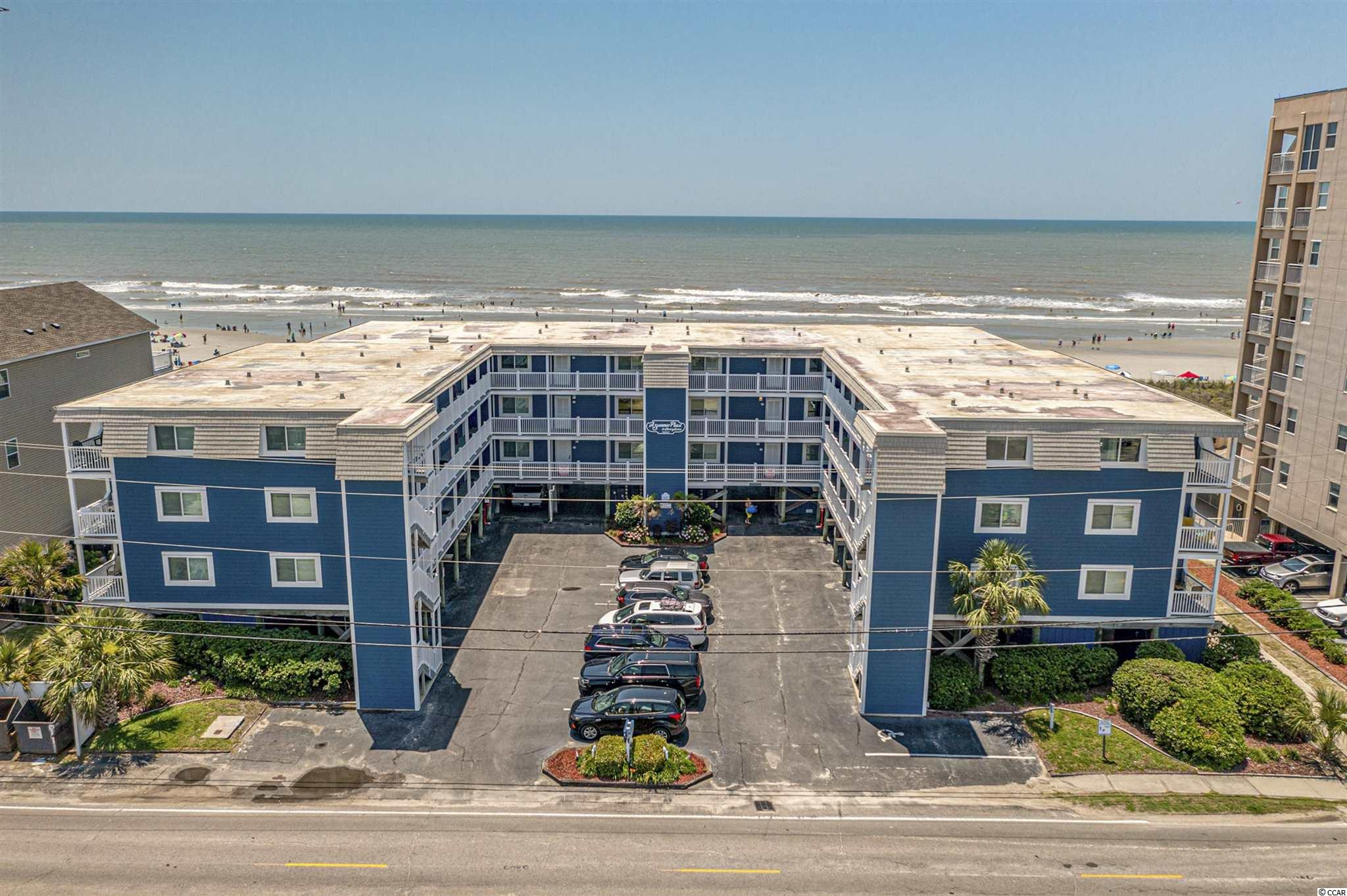 Ocean front in Cherry Grove!  This building has been completely redone and the unit is immaculate and comes fully furnished excluding a few personal items.  All new hardy board siding, new windows and sliding doors and more.  HVAC was replaced in 2020.  Enjoy the best views of the ocean from this top floor unit located just a short golf cart ride from Cherry Grove pier and all the restaurant's and shopping at Sea Mountain Highway.  This unit features outside storage on the ground floor which makes chairs and beach supplies easy to transport to the beach.  Building features an ocean front pool and does allow golf carts and pets.  Easy access to Shopping, entertainment golf and all that the Grand Strand has to offer.