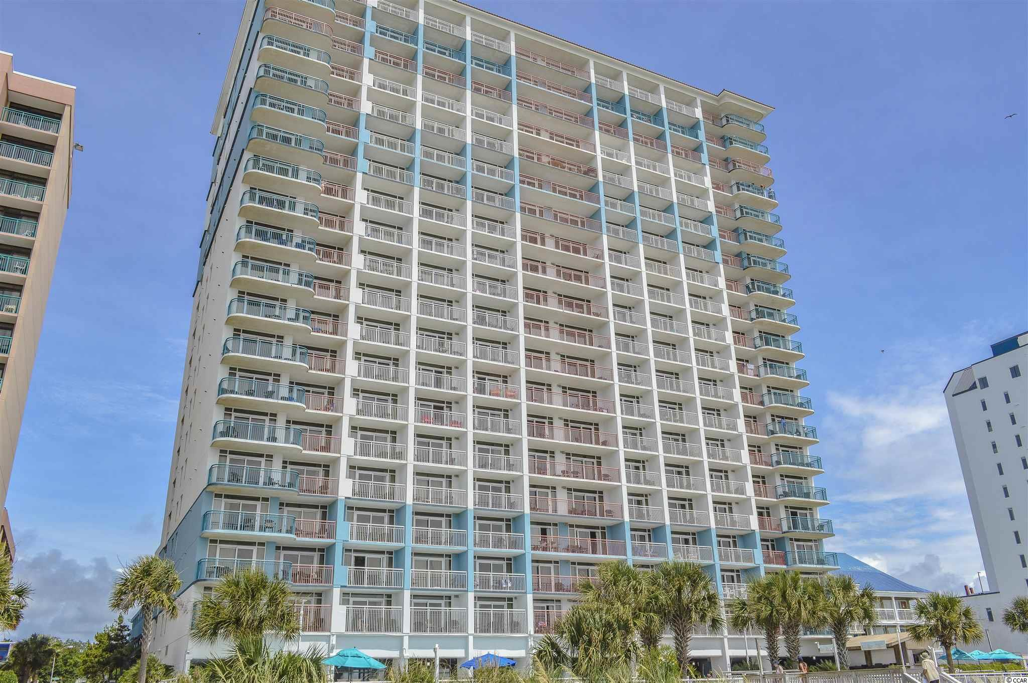 True 1 bedroom DIRECT OCEANFRONT unit for sale at the popular Paradise Resort. Located on S Ocean Blvd in downtown Myrtle Beach - close to family kingdom, the boardwalk, shopping, dining, and a short drive to Market Commons. GREAT LOCATION. Tons of on-site amenities: indoor & outdoor pools, lazy river, hot tubs, tanning deck, fitness center, giant chess, cornhole, sandals restaurant, poolside tiki hut and more! Walking through the front door of the unit you enter into a foyer with the bedroom on the left - complete with two beds, closet, flat screen TV and overhead ceiling fan. Laundry/utility closet off hallway features stackable washer/dryer. Full bathroom is equipped with a single sink bowl vanity and large garden tub. Galley style kitchen has a full set of appliances (owner has ordered a NEW fridge & range), granite countertops, small breakfast bar and plenty of cabinet space. Large open living area features unbeatable views of the oceanfront and garners lots of natural light from the sliding door balcony access. Living room has crown molding, flat screen tv, overhead ceiling fan, pull out sleeper sofa, murphy bed, and dining room area. Private oceanfront balcony overlooks the outdoor pool and white sands of Myrtle Beach. Unit is priced to sell and won't last long - schedule your private showing on this piece of beach paradise today!