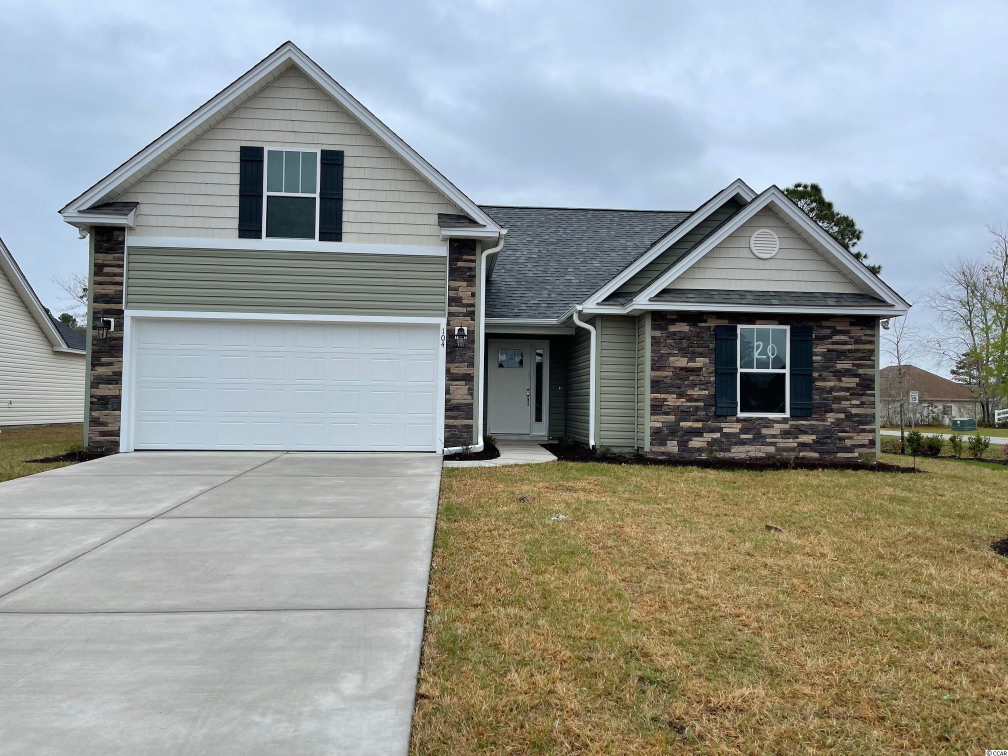 Red Hill commons is a new community located in Conway area only a few miles from the Beach and major shopping! This is the Opal floor plan with 2 ft expansion featuring 4 bedrooms, 3baths. Th house includes a finished 2 car garage with garage openers. Ceramic tile in all bathrooms and Laundry room, Granite Kitchen Countertops, with hardware on kitchen cabinets. Vaulted ceiling in Family room, every bedroom. Home also includes TAEXX pest control tubing!! Stone accents on the exterior as well. All measurements are approximate *Photos of a similar home* Some items on the photos may be an additional cost. Anticipating completion time Winter 2022*