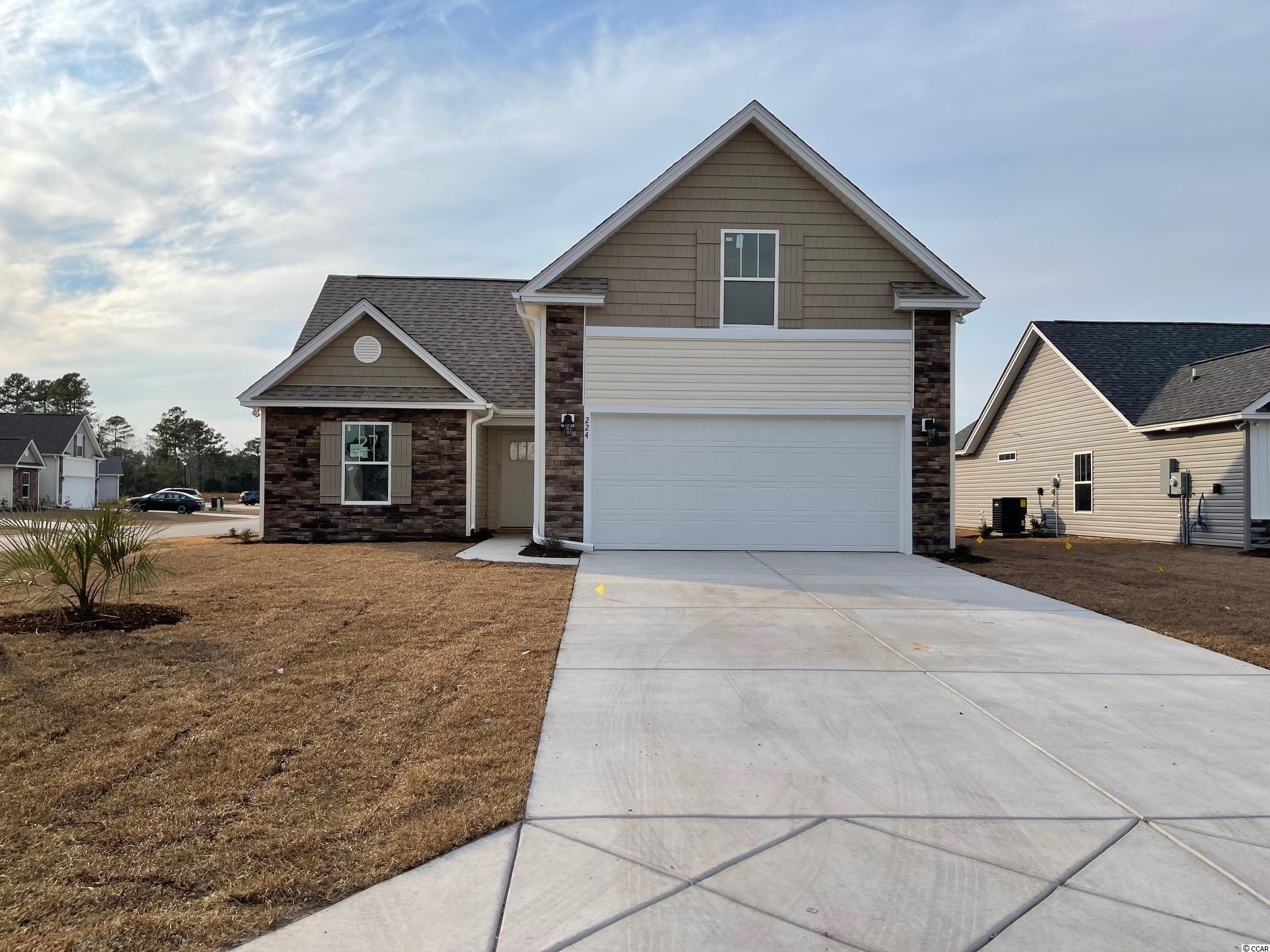 Red Hill commons is a new community located in Conway area only a few miles from the Beach and major shopping! This is the Onyx floor plan featuring 4 bedrooms, 3 baths. This home includes a finished 2 car garage with garage openers. Ceramic tile in all bathrooms, kitchen and Laundry room, Granite Kitchen Countertops, with hardware on kitchen cabinets. Vaulted ceiling in Family room, every bedroom. Home also includes TAEXX pest control tubing!! Stone accents on the exterior as well. All measurements are approximate *Photos of a similar home* Some items on the photos may be an additional cost. Anticipating completion time winter 2022*