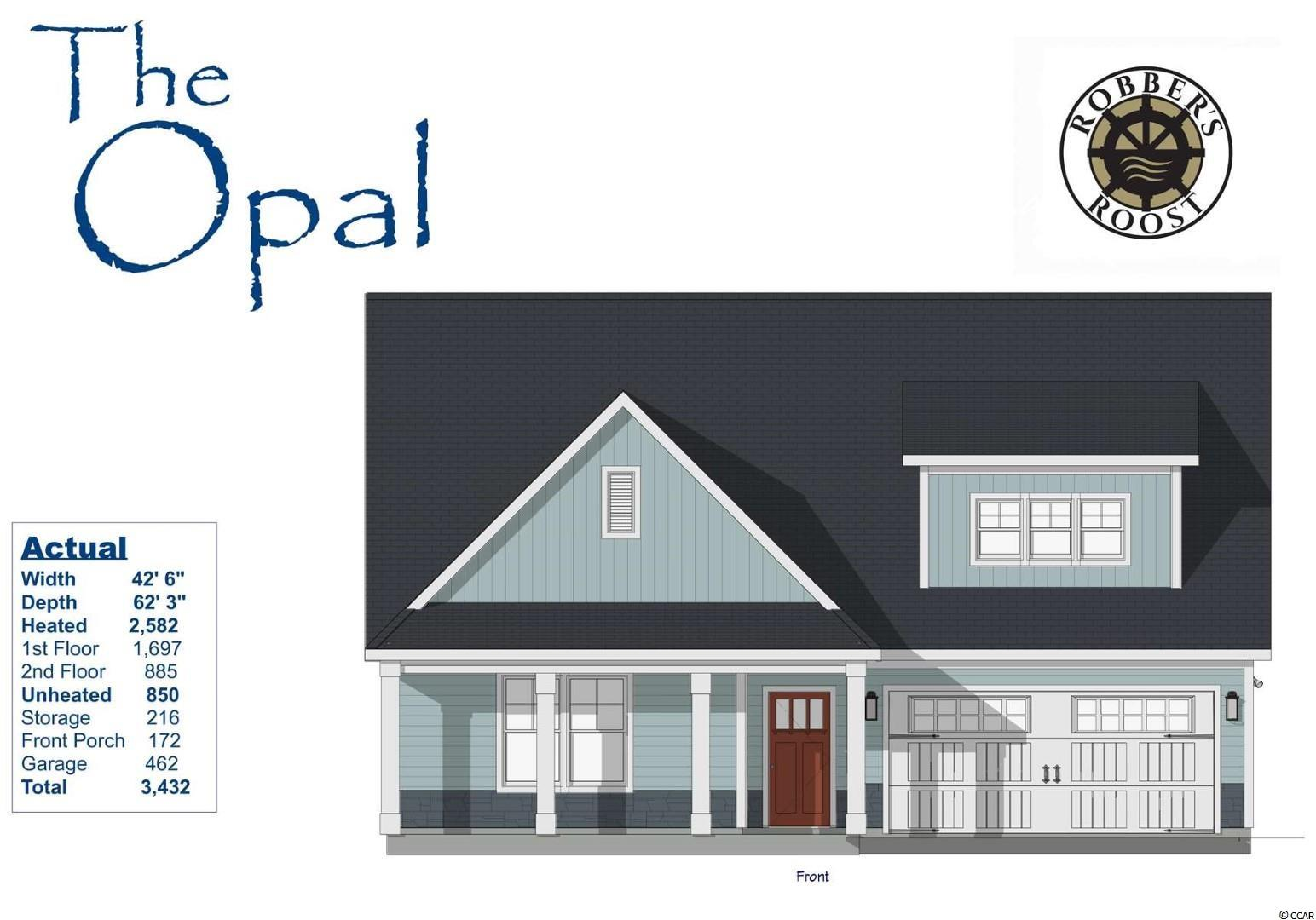 Our fantastic new Opal Model has so much to offer ~ This two story home features 5Br/3Ba with owners suite w/ full bath & large WIC and a 2nd bedroom (or office), a 2nd full bath, laundry room, large eat-in kitchen & living room on first floor & 3 bedrooms with a full bath on the 2nd floor, a covered front porch, back patio and a large 2 car garage! This open floor plan boasts a large living room, eat-in kitchen with free standing gas convection range, over-the-range sensor microwave, energy star dishwasher, granite countertops, garbage disposal, pantry, laundry room & rear patio.  Energy savings features include Low E windows, 14 Sear HVAC, Digital WiFi Programmable Thermostats, Tankless Gas Hot Water Heater & 200 Amp electrical service, security system with keyless entry.  Too much to mention so come see for yourself! From the time you step onto the quaint from porch & open the front door you'll see the quality of construction. 9' flat ceilings, wide plank restoration flooring, luxurious carpet in bedrooms.  Additionally, Robber's Roost at North Myrtle Beach is a natural gas community east of Hwy 17 with a community pool coming for the 2021 swimming season & is located within walking, bicycle or golf cart distance to Tilghman Beach, the beautiful Atlantic Ocean w/ 60 miles of white sandy beaches and is close to Coastal North Town Center (shopping, dining, beauty, pets), Shag dance capital Main St., golf, boating/fishing in the ICW, entertainment and all the amenities of living in Coastal South Carolina. Whether a primary residence or your vacation get-a-way, Don't Miss ~ come live the dream!  (*Many new plans to choose from!)