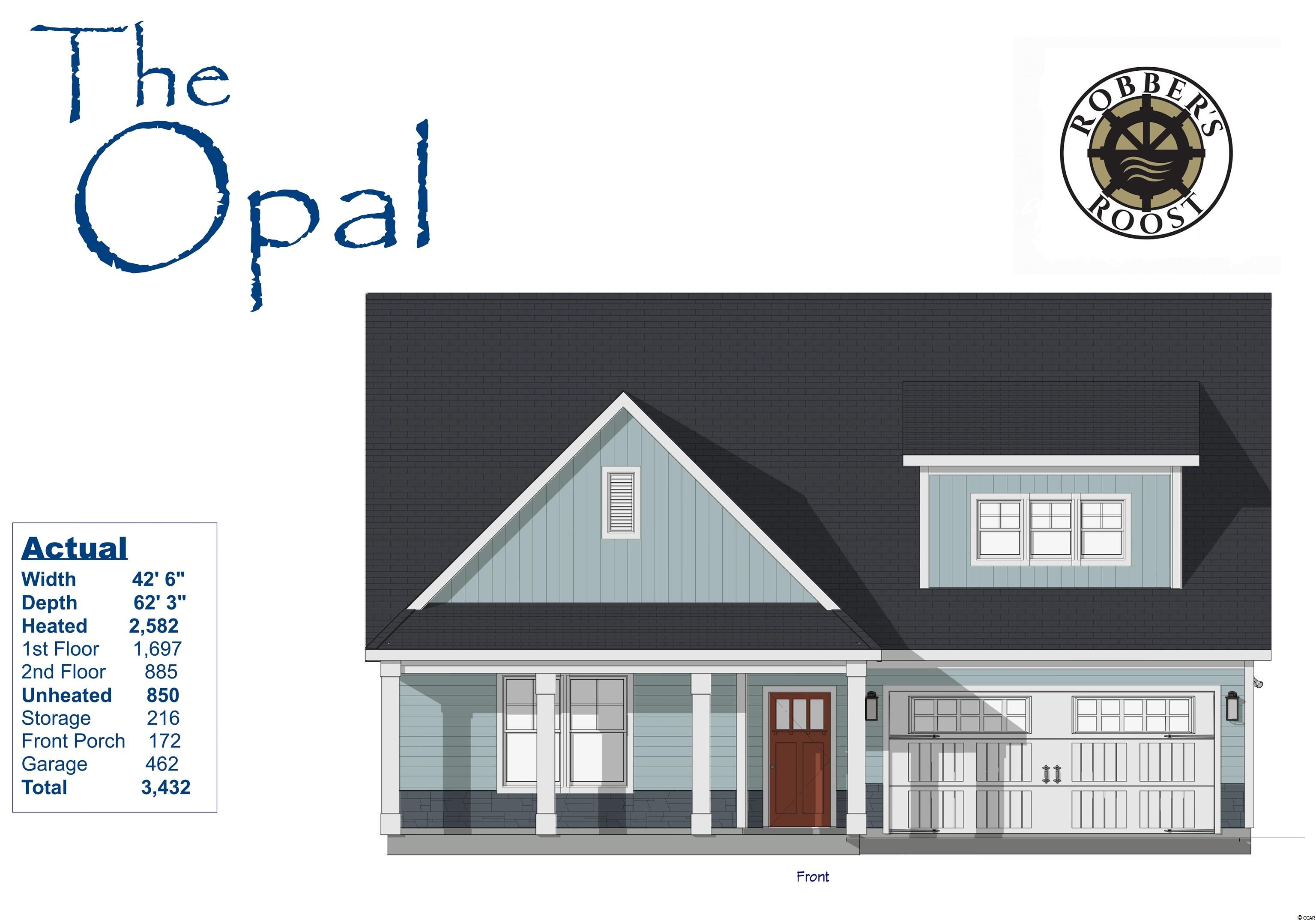Our Jade III Model has so much to offer ~ 4 Br/3ba 2-story home with 2 car garage. The first floor boasts a huge living room,  kitchen with free standing gas convection range, over-the-range sensor microwave, energy star dishwasher, granite countertops, garbage disposal, pantry & large dining area. Fantastic Master Suite with a large walk in closet & bathroom with walk-in shower and double sinks as well as 2 other bedrooms, a full bath and a laundry room.  Second floor has a large bedroom, a playroom, a full bath & storage space. Energy savings features include Low E windows, 14 Sear HVAC, Digital WiFi Programmable Thermostats, Tankless Gas Hot Water Heater & 200 Amp electrical service, security system with keyless entry.  Too much to mention so come see for yourself! From the time you step onto the quaint from porch & open the front door you'll see the quality of construction. 9' flat ceilings, wide plank restoration flooring, luxurious carpet in bedrooms, vaulted/tray ceilings & a wonderful open floor plan.  Additionally, Robber's Roost at North Myrtle Beach is a natural gas community east of Hwy 17 with a community pool coming for the 2020 swimming season & is located within walking, bicycle or golf cart distance to Tilghman Beach, the beautiful Atlantic Ocean w/ 60 miles of white sandy beaches and is close to Coastal North Town Center (shopping, dining, beauty, pets), Shag dance capital Main St., golf, boating/fishing in the ICW, entertainment and all the amenities of living in Coastal South Carolina. Whether a primary residence or your vacation get-a-way, Don't Miss ~ come live the dream!  (*Many new lots/plans to choose from!)