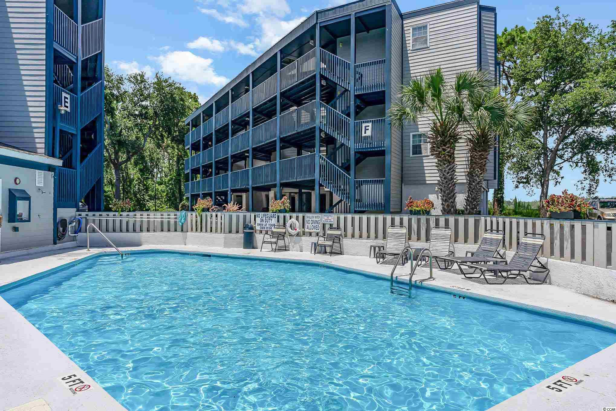 Move in ready, third floor end unit is in excellent condition and used as a primary residence. Located in a 72 unit (no elevator) complex in the Crescent Beach area of North Myrtle Beach. Right around the corner from the Community Center, the Park and Beechwood Golf Club and 2 miles from Main Street in NMB. Open floor plan with laminate flooring in living area/kitchen/master bedroom; screened porch extends the living space to the outdoors where you can enjoy the breeze and privacy in this top floor unit. Built in storage in the Master bedroom and stackable washer/dryer in 2nd bathroom. Sold furnished with the exception of few items. Parking is under building and the exterior of the building is newly painted. Community pool and grill area. HOA includes water/sewer; basic cable and internet; building insurance; pest control. All information is deemed reliable but not guaranteed. Buyer responsible for verification.
