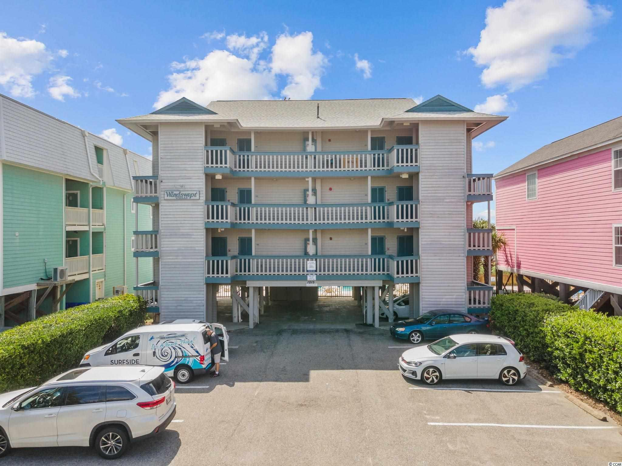 Adorable fully furnished oceanfront efficiency in Surfside Beach.  This top floor end unit is a gem.  The ONLY condo currently available.  Totally updated with STRONG rental history.  Don't miss this opportunity - Condos in Windswept are rarely available. This small 12 unit low-rise buildings has one of the largest pools on the oceanfront..  Virtual and in person tours available on Saturdays.  Call now!