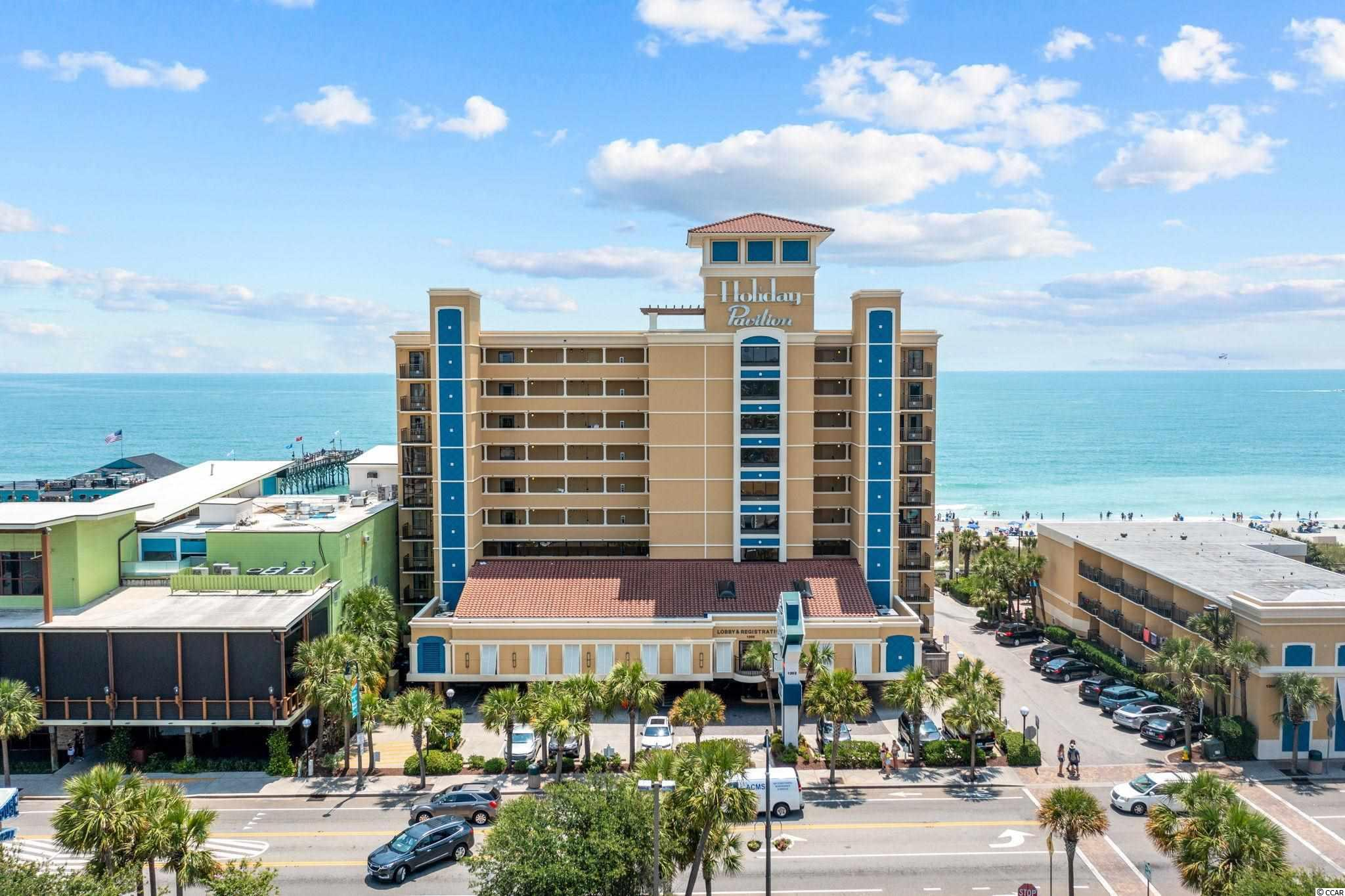 Holiday Inn Pavilion is located in the HEART of Myrtle Beach! Within walking distance of the Grand Strands top restaurants, Sky Wheel and the boardwalk! The unit boasts a beautiful oceanfront view from the 9th floor! Enjoy a cold drink at the Tiki Bar or cruise the lazy river! This building as many amenities to keep you entertained! This unit is not going to last long so schedule your showing today!