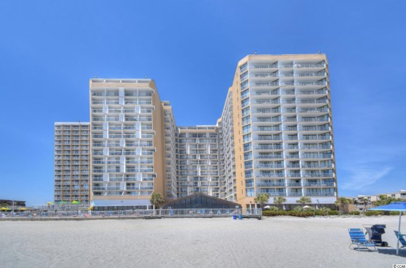 This 2 bedroom 2 bath ocean view condo is located at Sands Ocean Club in the desirable Arcadian Shores section of Myrtle Beach.  The oversize balcony extending the length of the living room and master bedroom has expansive views of the SC coast line.  Sands Ocean Club is home to the famous Ocean Annie's and has many amenities for your family to enjoy.  This unit has an efficiency lock out that can be purchased separately.
