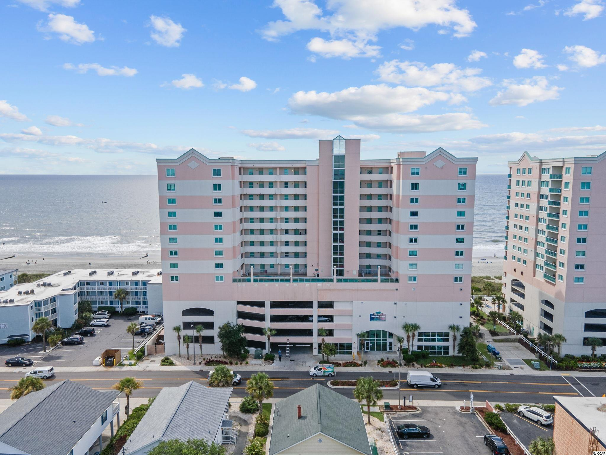 Fantastic three bedroom unit at Crescent Keyes in North Myrtle Beach.  Prime oceanfront location on the 11th floor with sweeping views of the Atlantic Ocean.  Spacious feel in this expansive unit that's perfect for a second home getaway spot or a cash flowing investment property with a strong rental history.  As you enter the unit, two secondary bedrooms are located on either side.  Both have access to a hall bath with vanity and walk in shower.  The heart of the unit is the large open kitchen with plenty of cabinet and counter space.  A large bar offers a great space to share meals and enjoy each others company.  Most appliances were replaced in 2019 with Samsung stainless steel models.  Beautiful granite countertops and white cabinetry complete the space.  The living areas adjoins the kitchen with easy access to the large balcony.  The 11th floor location offers some of the best views of the oceanfront.  A sleeper sofa was just replaced and allows for additional sleeping space for guests or family.  The master bedroom is sizeable with plenty room to relax and take in the excellent ocean view.  Balcony access is at your fingertips.  An en-suite bath has a double vanity and large soaker tub.   The unit will currently accommodate a maximum of ten guests with sleeper sofa.  A tremendous added bonus of this unit is a brand new HVAC system was just installed and provides virtual worry free heating and cooling!  For added convenience, there's a unitized washer and dryer in the unit.  There is attached in building storage that goes with the unit for all of your beach equipment.  Crescent Keyes is packed with amenities the whole family will enjoy including indoor and outdoor pools, jacuzzi, and a lazy river on the 6th floor.  A full gym is even available on site.  A covered parking deck allows for easy access in and out of the building.  As an added security feature, all elevator lobby doors and entry points require keyed access.  Crescent Keyes is a wonderful complex with
