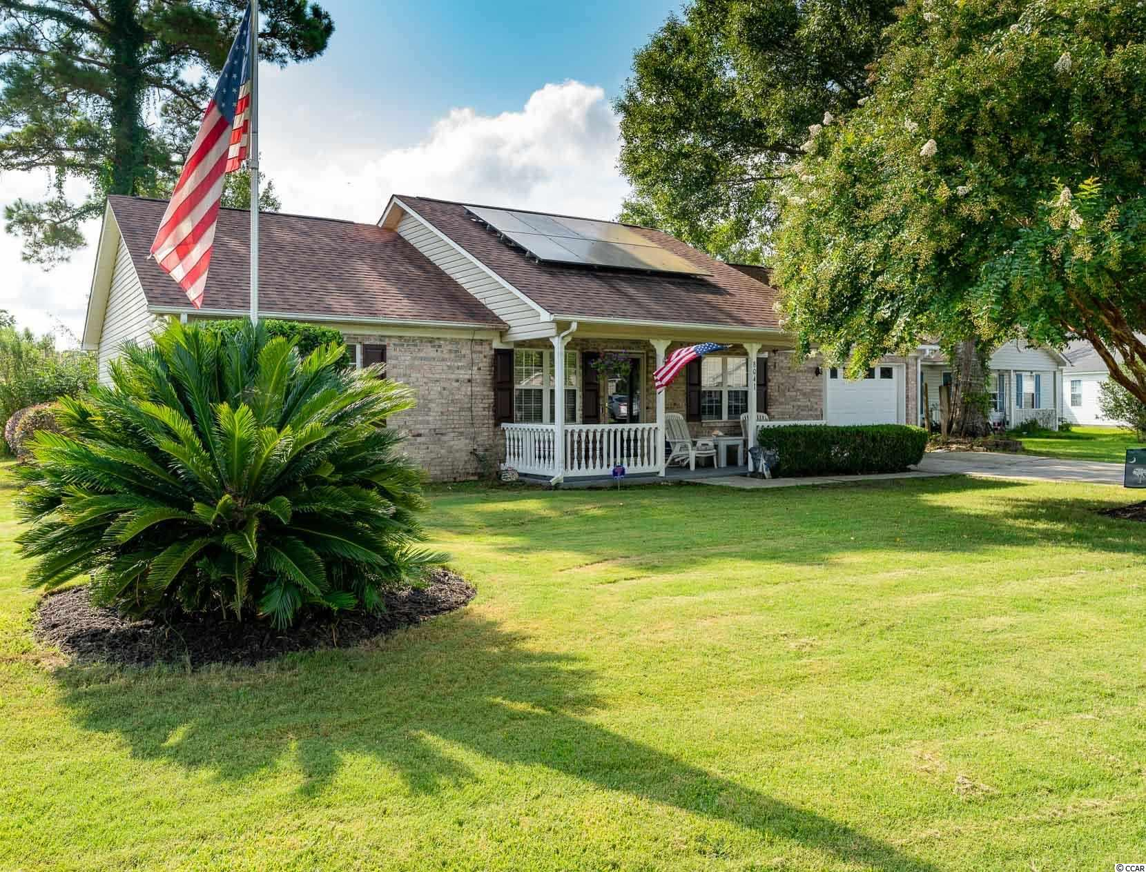 This Comfortable Ranch is Located In The Popular St. James School District. The Living Room Features Adjustable Lighting, Custom Built-In Entertainment Center & Is Wired for Surround Sound.  Behind The Garage & Through The Kitchen Is A Bonus Room That Could Be A 4th Bedroom.  The Master Bedroom Features A Retreat-Like Ensuite W/Double Sink, Spacious Jetted Tub & Step-In Shower.  At The Rear of The Home Is An Enclosed Rear Porch W/Heat & AC Unit, Which Leads To A Private Paver Patio Area. Also Included Is A Deep One Car Garage W/ Double Steel Insulated Door & Pull-Down Steps To Attic Storage. The Next Owner Will Experience Energy Efficiency & Significant Savings From The Investment Current Owner Made in 2017 By Installing A New Roof W/ Radiant Barrier, Thick Insulation & SOLAR PANELS THAT WILL TRANSFER FREE & CLEAR. This Home Is Truly GREEN & The Horry Electric Coop Credit Cuts The Electric Bill In Half!  Large Storage Shed Out Back.  Neighborhood is Close to Schools, Shopping, Hospital, Doctors Offices and is a Short Distance from the Beach and the Marsh Walk in Murrells Inlet.  Sq. Footage Approximate.