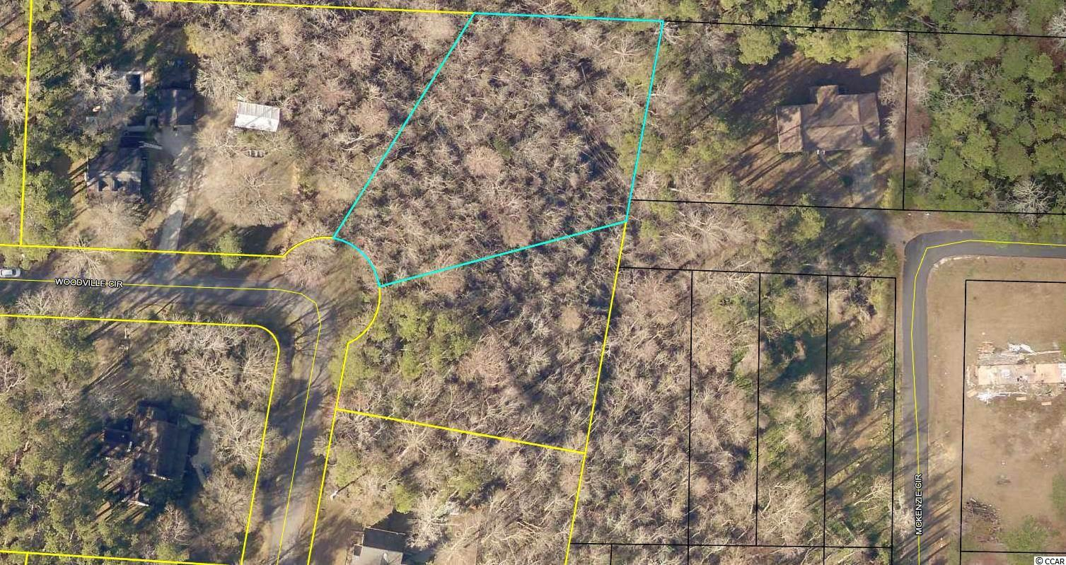 Private lot. No HOA. Two contiguous wooded lots offer quiet corner location within a small residential neighborhood on Woodville Circle. With roughly 1.3 acres together, these lots provide approximately 147 total feet of road frontage. Public water and sewer hook-up available to both lots. Woodville Circle is located just off of Waverly Road near the intersection of Kings River Road. Nearby Bikeway offers miles of bicycling between Pawleys Islland and Murrells Inlet. Convenient to schools, hospital system and shopping as well as to area attractions, including award winning golf courses, the Waccamaw River and some of the finest beaches along the east coast. Myrtle Beach is 25 miles north. Charleston SC is 75 miles south.