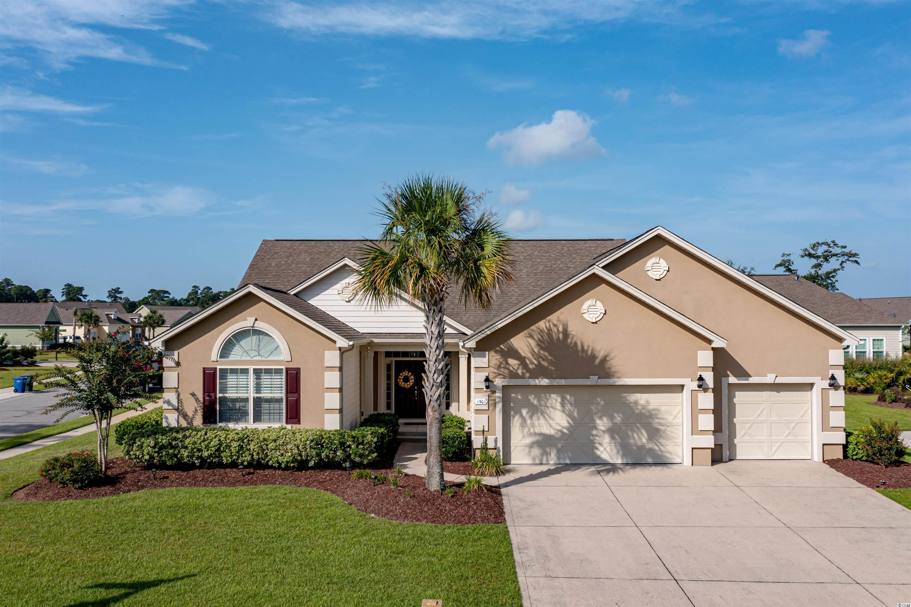 """BEST of BOTH WORLDS in North Myrtle Beach! Are you looking for ground floor living, yet you still want to be close to the BEACH? This 3BR/2.5BA/3CG Home in SEABROOK PLANTATION is located in a gated community, EAST OF HWY 17, walking distance to Coastal North Town Center (Publix, TJ Maxx, Dick's Sporting Goods, Hobby Lobby, Homegoods, Hickory Tavern, Panera Bread, etc.), & just a short golf cart ride to CHERRY GROVE BEACH. Built in 2013 by DR Horton, this lightly lived in home is as good as new! The front porch is welcoming & the entrance is elegant, featuring a tray ceiling in the Foyer. The large OPEN FLOOR PLAN is evident as you walk in, allowing for a true Family Room atmosphere. The Great Room includes 10' smooth ceilings, Natural Gas fireplace, Custom Built-In shelving & cabinets, Dining area, and a private parlor space. The Custom Kitchen includes Stainless Steel appliances, Double oven, Granite countertops & Tile backsplash, Large pantry, Work island, a Breakfast bar & Breakfast nook. The Large Master Suite features a tray ceiling, ceiling fan, Master Bath with double vanities, garden tub, tile shower, linen closet, and a LARGE Walk-In closet. Other interior features include: Plantation Shutters throughout, Screened back porch with sealed floor, 3-CAR GARAGE, Laundry Room, Carpeted bedrooms, Ceiling fans, Crown molding, & Attic storage. Exterior features include: Hardie Board siding, Stucco accents, Architectural shingles, New HVAC installed in May 2021, Corner Lot, Irrigation, & Large driveway. Natural Gas supplies the Tankless Rinnai Water Heater, Furnace, & Fireplace w/blower. Neighborhood amenities include: gated entryways (3), clubhouse with swimming pool/spa, sidewalks, RV/Boat storage, and landscaped right of ways. Seabrook Plantation is gated """"golf cart friendly"""" community that is just a short ride away from anything CHERRY GROVE BEACH has to offer! Call an Agent TODAY for a showing. This is the ONLY home available in the neighborhood at the moment."""