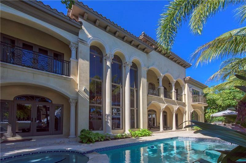 Luxurious resort-style Mediterranean waterfront mansion in the Las Olas Isles. This private estate features a total of 8,300 SF,7 BEDS including Office, all en-suitesi. Spacious master w/his & her Walk-in closets, Large Master Bath with shower, spa and 2 water closets. Master bedroom balcony overlooks the water and is equipped with fire place. Gourmet kitchen equipped w/Viking appliances, family room, features pool table, Living room with full bar and fireplace. Formal dining, large patio w/heated pool & spa, full summer kitchen. 100 ft. deep water dock w/quick ocean access. A true boater's dream, walking distance to Restaurants, Galleries, houses of worship and beaches. The property is available for short or long term rentals