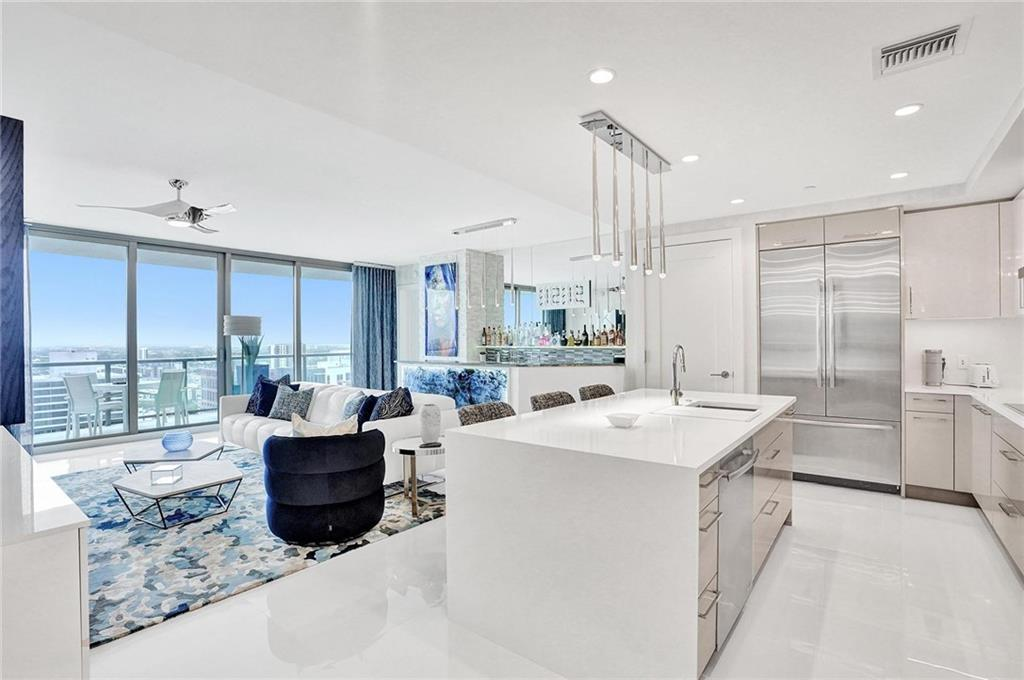 One of the only Furnished Residences available in the building! This Residence features contemporary open-concept turnkey design. World class designer has spared no expense in the detail of this Residence. Gourmet kitchen is ideal for entertaining, and expansive terraces with glass railings designed to provide unobstructed long-range views of the Fort Lauderdale skyline and Ocean. Soaring above vibrant downtown Fort Lauderdale, 100 Las Olas is the city's most desirable place to live. 46 levels, 113 luxury residences, Iconic architecture, designed with a contemporary aesthetic, incorporates curved geometric shapes clad in steel and glass creating the feeling of complete transparency and light transmission. Steps away from fine dining and shopping.