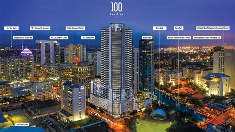 The newest and most luxurious building in downtown FORT Lauderdale LAS OLAS BOULEVARD this Luxurious apto features 3 exposures and offers our most direct river view. The great room and master bedroom open onto the expansive terrace with 3 distinct seating areas. With porcelain flooring throughout, a gourmet kitchen with European cabinets, quartz counter tops, top of the line Jenn Air appliances, and Grohe fixtures throughout, this residence is an urban oasis of luxury. The master suite 2 walk-in closets and a luxuriously appointed bathroom. 2do. room with comfortable carpet, private balcony and 3rd room is split/room it a convert den into a full room full bedrom laundry room w/d, .PARKING spaces. The gorgeus resort-style amenities are 4-star, Fines Center, sundec, pool club Room