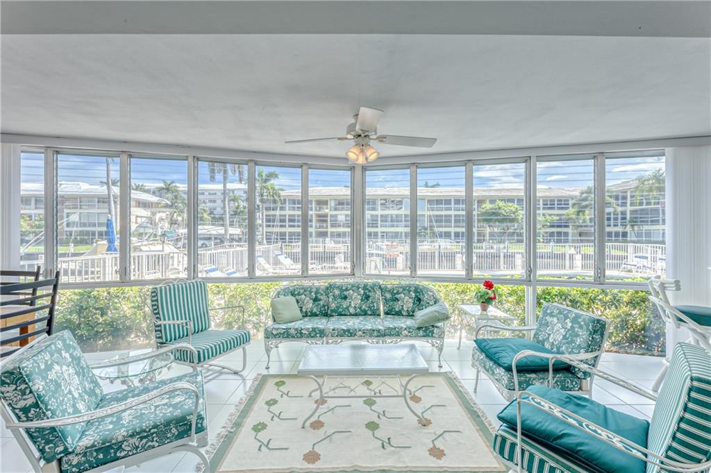 Spacious 1st Floor waterfront condo in Coral Ridge Country Club Estates and only a few buildings from the Intracoastal Waterway. This tropical unit overlooks the pool and the water. There is plenty of closet space plus one extra storage area. New A/C in March 2021 and Tankless water heater. One assigned parking space right in front of the unit. This friendly community of 51 units include the following amenities: 2 pools (one heated), 2 barbecues, exercise room, library, 3 common laundry rooms, bicycle storage, and billiard room. Boat dockage is available at $2.50/linear ft. Location is close to restaurants, bars, churches, and beach.