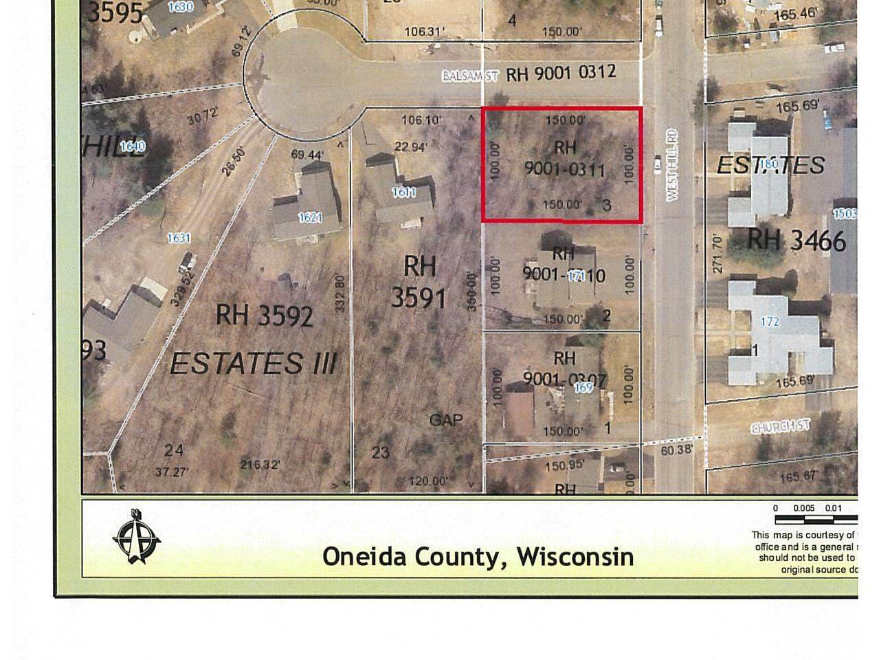 Wooded city lot at the corner of Balsam Street and West Hill Rd on Rhinelander's west side. This city lot is zoned R-3 with city water and sewer inside curb. Natural gas and electric are to the lot line.
