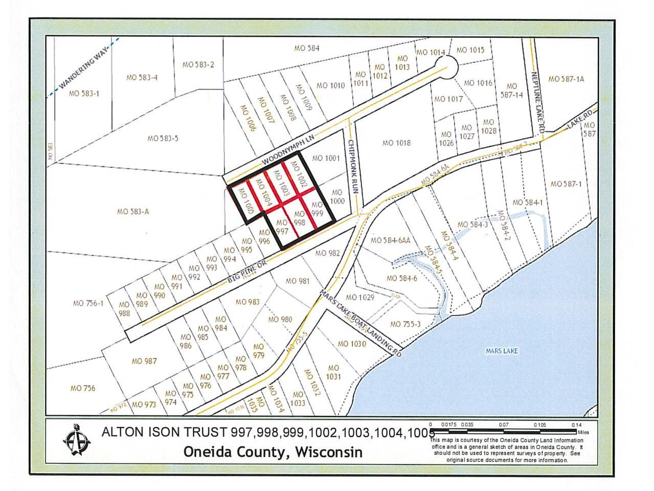 Seven lots being sold as one parcel. Total acreage is approximately 3.21 acres per GIS mapping. Located between Rhinelander, Three Lakes, and Crandon in a quiet country neighborhood. The lots are zoned single family residential with electric, gas, telephone, and cable utilities present. The parcel is within walking distance to the Mars Lake boat landing with Neptune and Venus Lakes nearby.