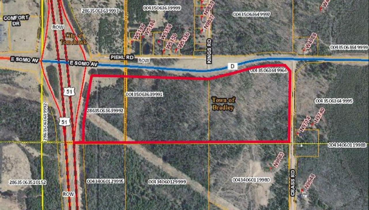 Do not miss this incredible opportunity to own over 82 acres of prime highway frontage in Tomahawk. This listing combines three parcels, two very wooded (zoned forestry), and a third semi-cleared parcel with some natural vegetation(zoned Gateway Tourist District- see docs for definition of uses). Electricity, gas and telephone connections at the lot lines. Located at the southeast corner of an extremely busy highway intersection, Hwy 51 and Hwy D/86. One additional lot available at the northeast corner of the same intersection.