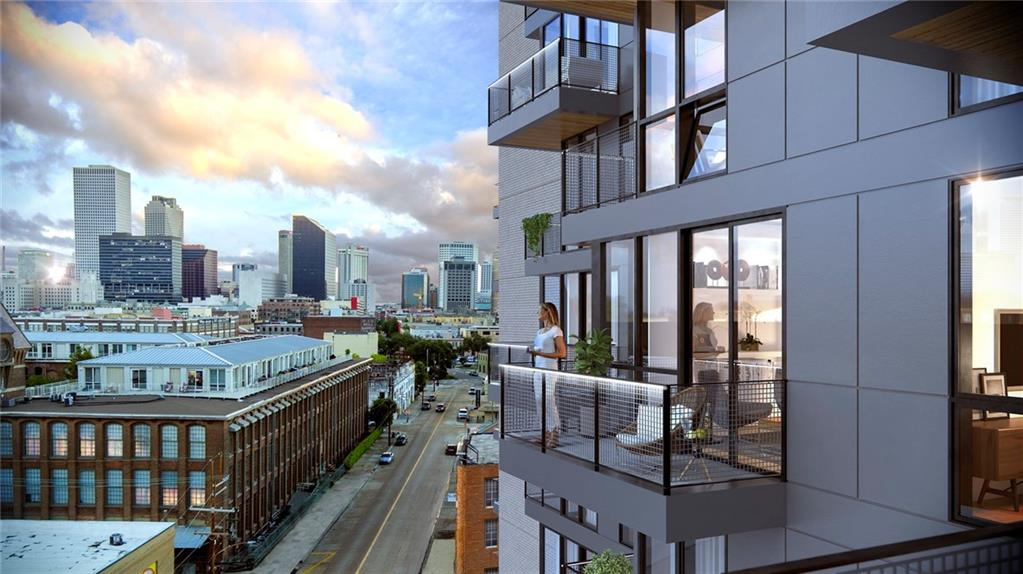 Soaring 16 stories over New Orleans' historic Warehouse Dist.,1100 Annunciation will be a modern condominium tower offering unprecedented skyline views from a luxurious contemporary space. Large private terrace w/ built in gas grill & private balcony.  Select from a menu of finish options. Amenities: 16th floor terrace & pool w/ dramatic river & city views, community room w/ kitchen, state of the art fitness, garage pk, storage,24 hour attendant/security. Act now to secure in your pre-construction price