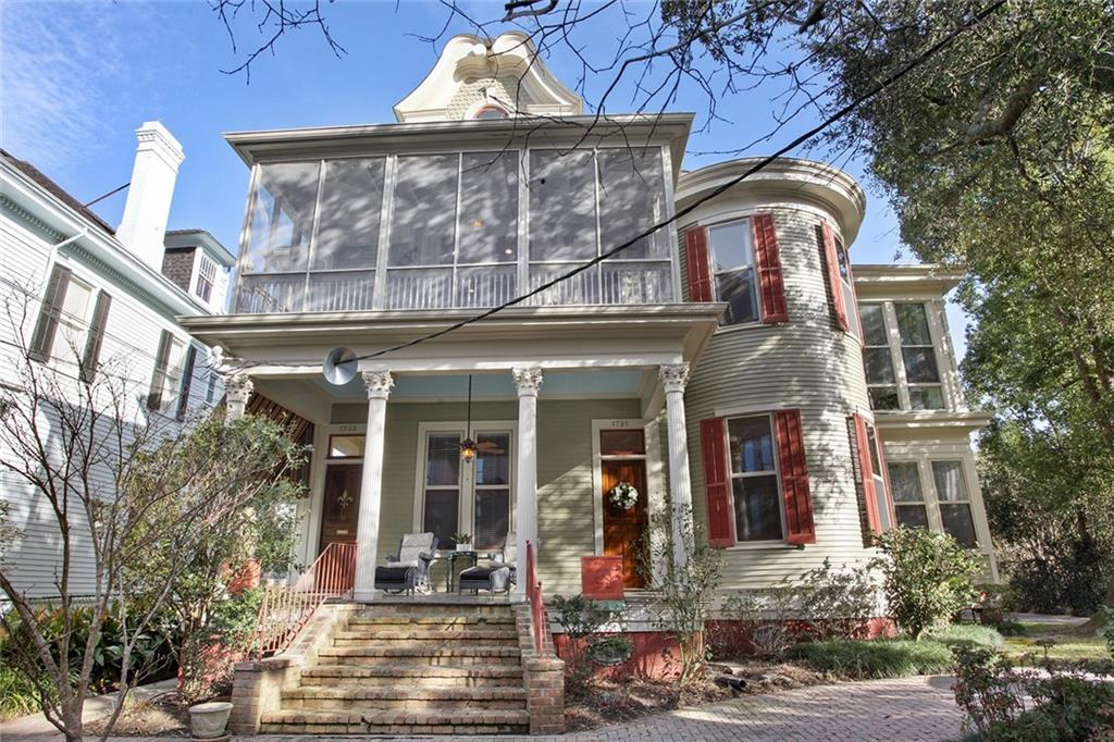 This upstairs unit is comprised of the entire 2nd and 3rd floors, offering 4 bedrooms & 3 full baths. Located two blocks from Audubon Park and adjacent to Loyola & Tulane Universities. The tremendous kitchen has custom cabinetry & ss appls. Triple crown molding throughout, big screened-in porch w/gas connection for a grill. Huge master suite w/marble bath & separate shower & jetted tub as well as double sinks. Wet bar with icemaker & double drawer refrigerator. Includes 3 off-street parking spaces & garage.