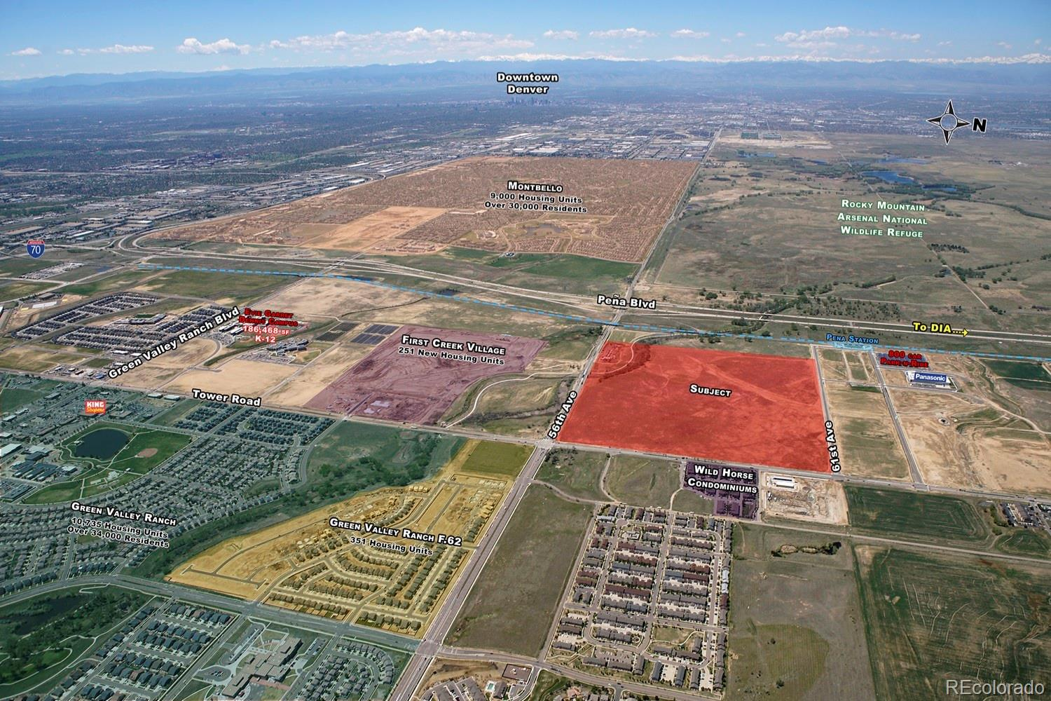 Rare opportunity to purchase one of the most unique and prime greenfield development sites in the City of Denver. This transit oriented development is located in the heart of Denver's rapidly expanding eastern edge with direct access to the newly constructed Pena Station. In total, the site is approximately 147 acres bounded by Tower road on the east, E 56th Ave. on the south, and E 61st Ave on the north.   Subject property is a part of 4 separate Metro Districts which have already been created potentially saving the new owners time and money.